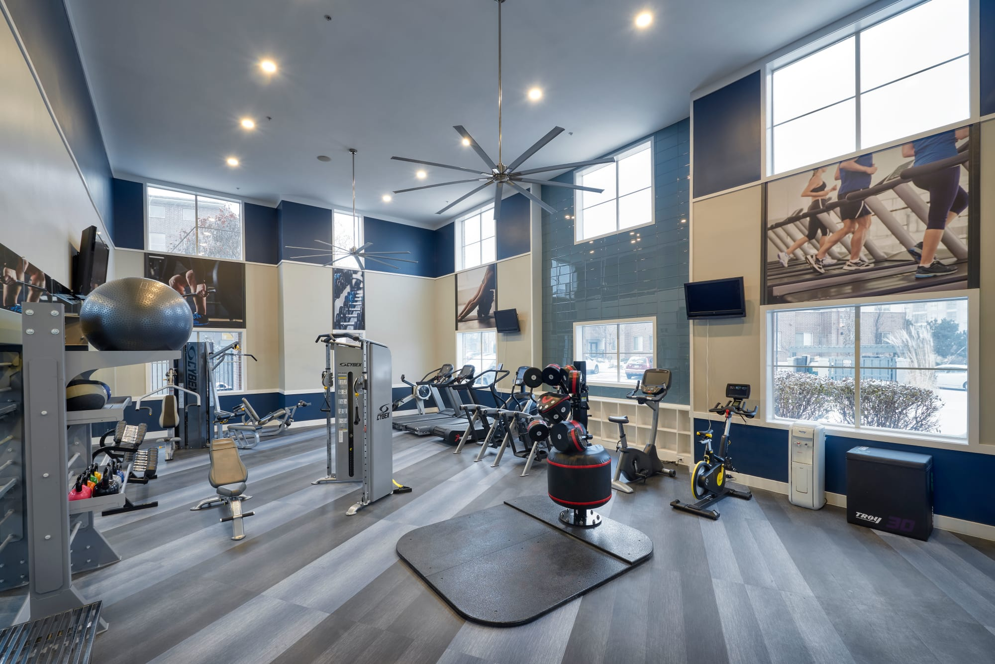 Luxury fitness center at The Rail at Inverness in Englewood, CO