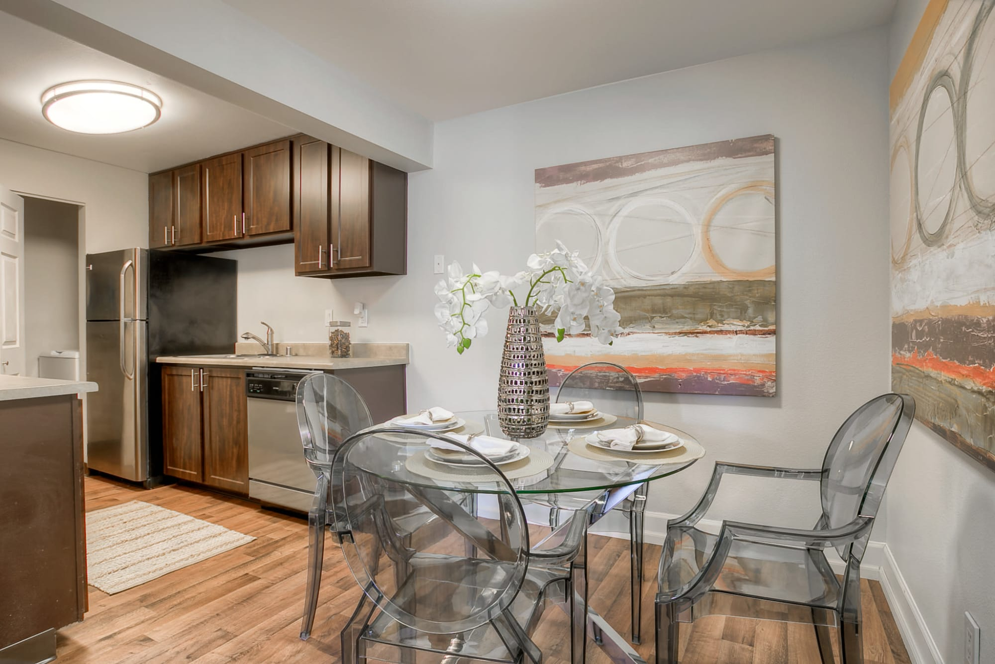 Kitchen ad dining room at Newport Crossing Apartments