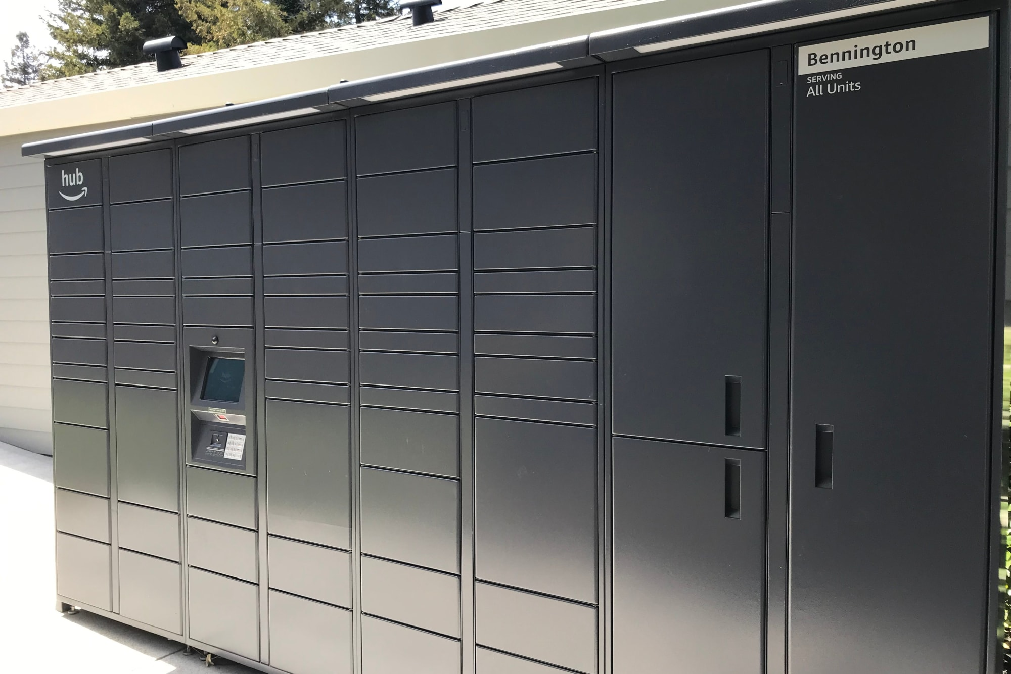 24-hour package lockers with Amazon HUB at Bennington Apartments in Fairfield, California