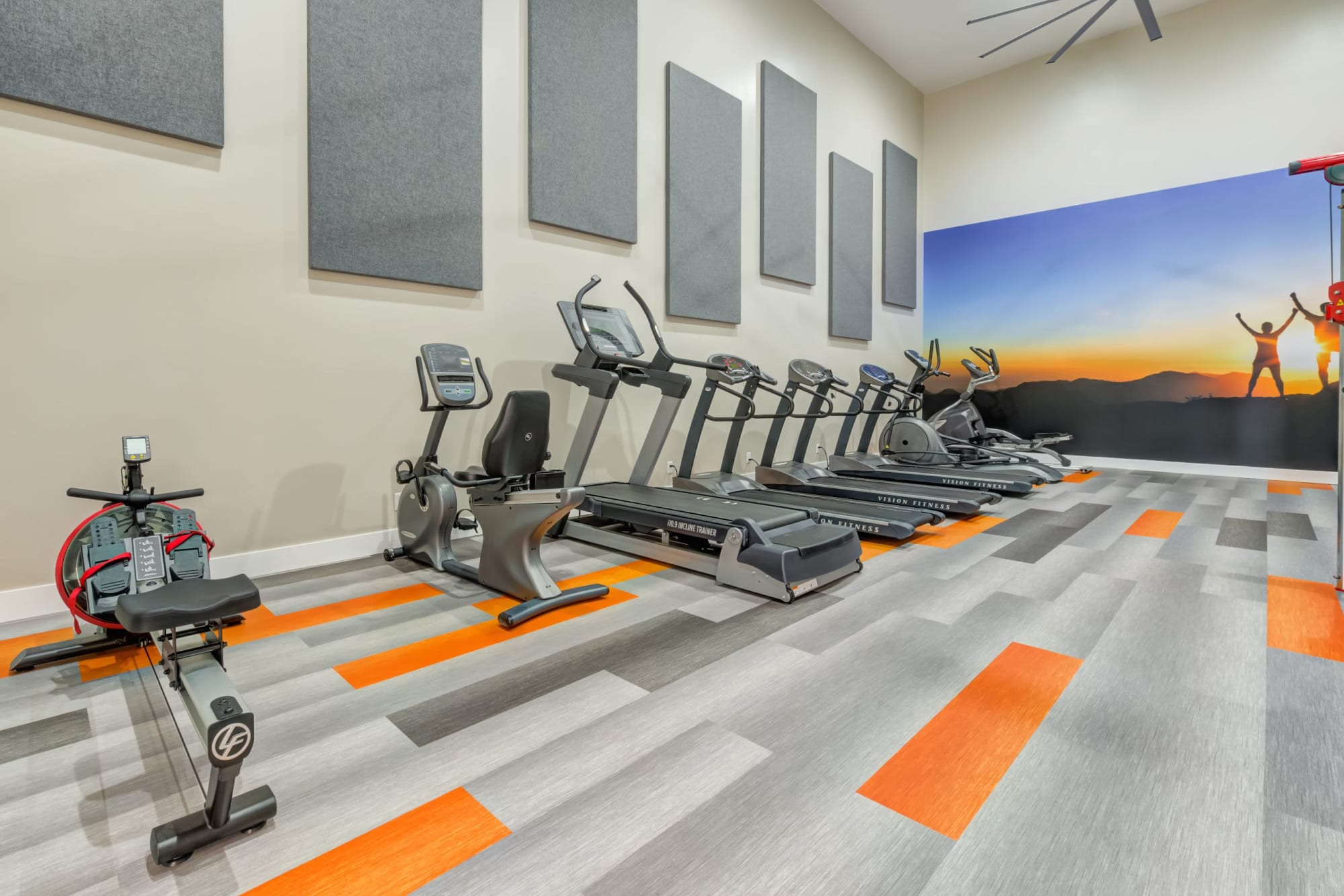 Newly renovated Fitness Center cardio machines At Tuscany Village Apartments