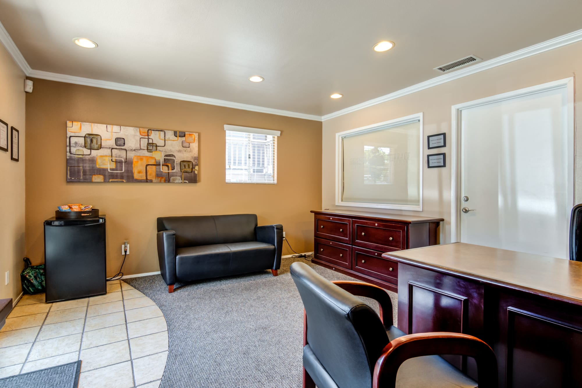 The interior of the leasing office at Hillside Terrace Apartments in Lemon Grove, California