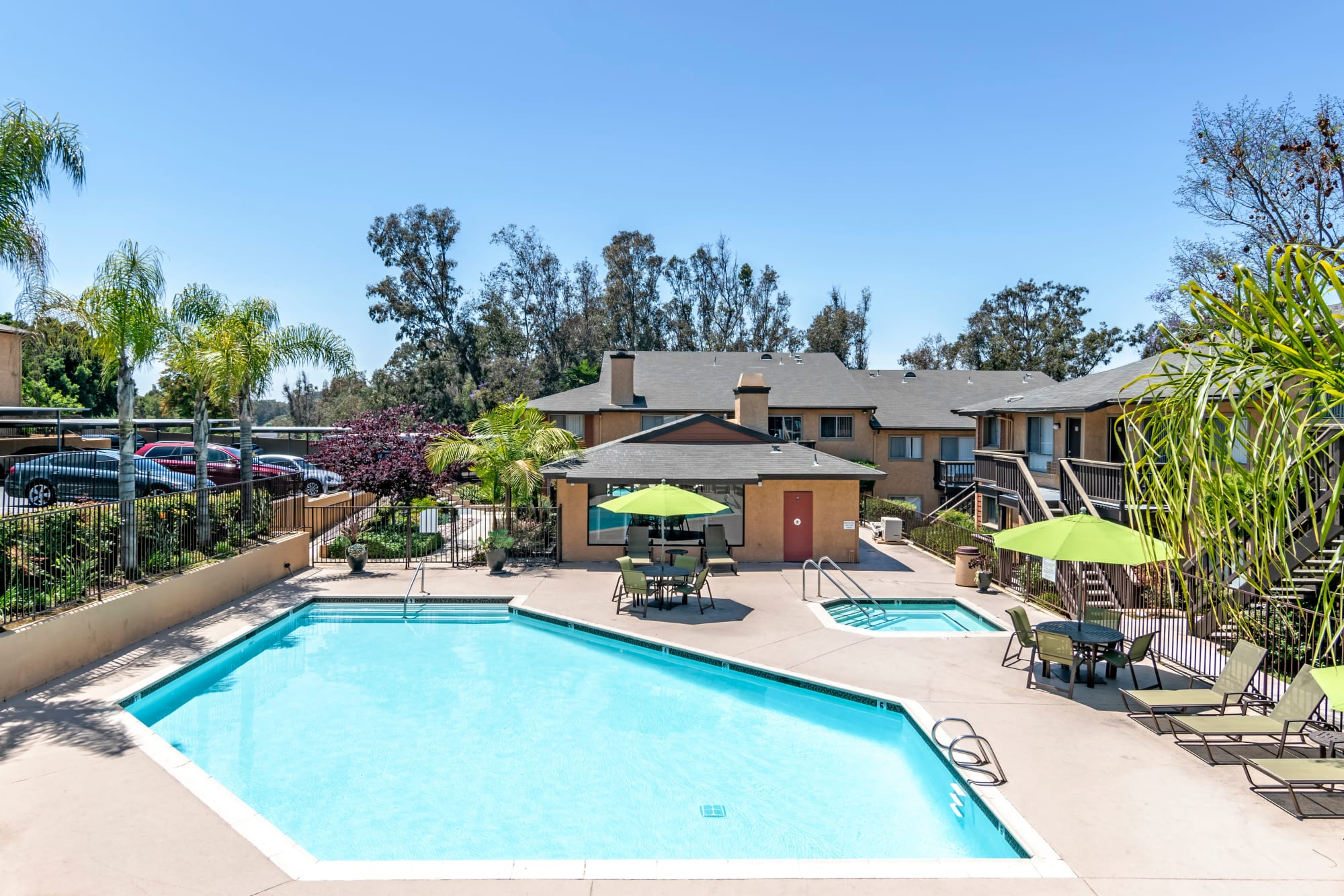 The pool and deck area at Hillside Terrace Apartments in Lemon Grove, California