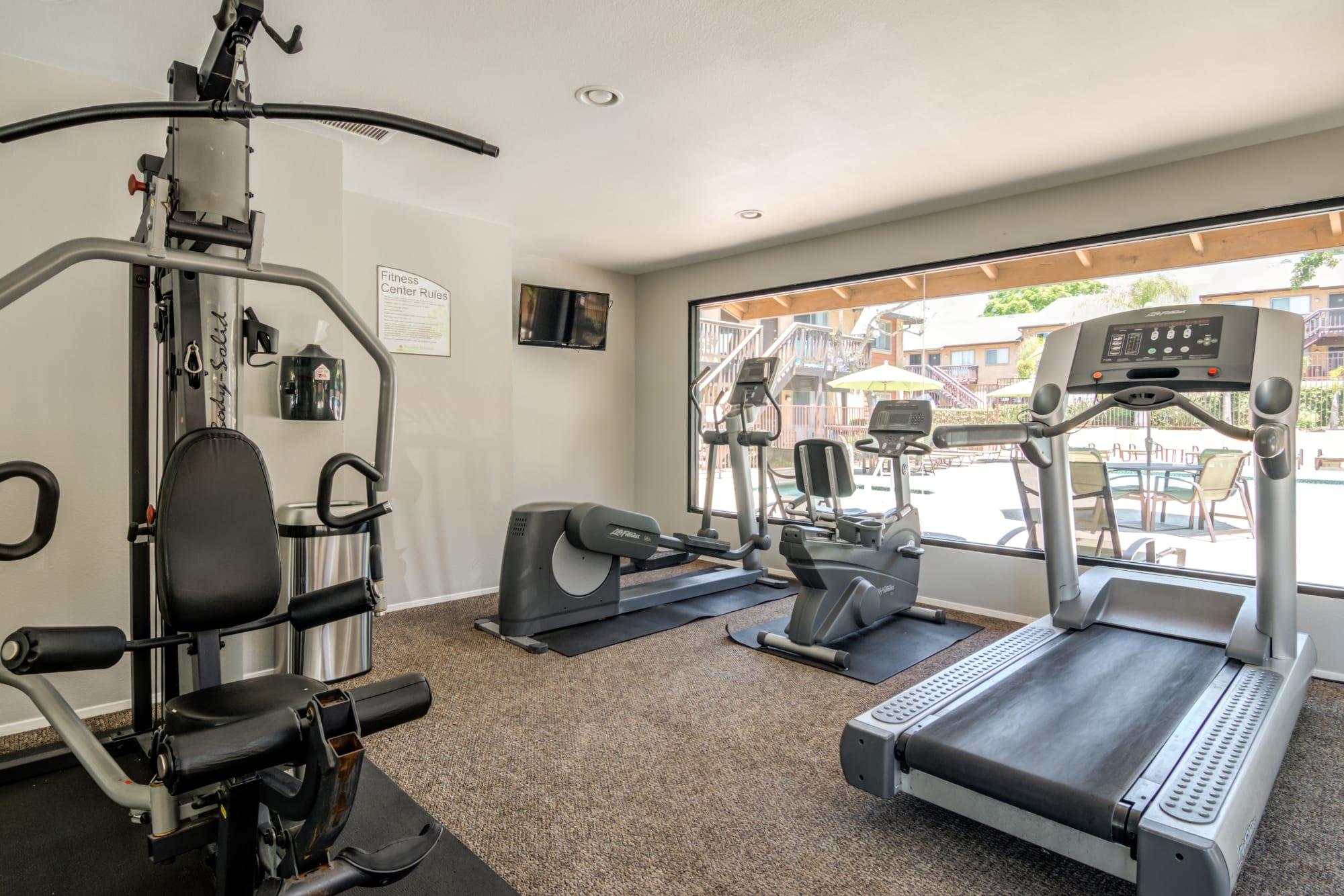 The fitness center at Hillside Terrace Apartments in Lemon Grove, California