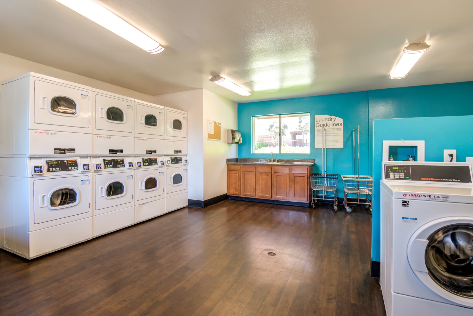 The onsite laundry center at Hillside Terrace Apartments in Lemon Grove, California