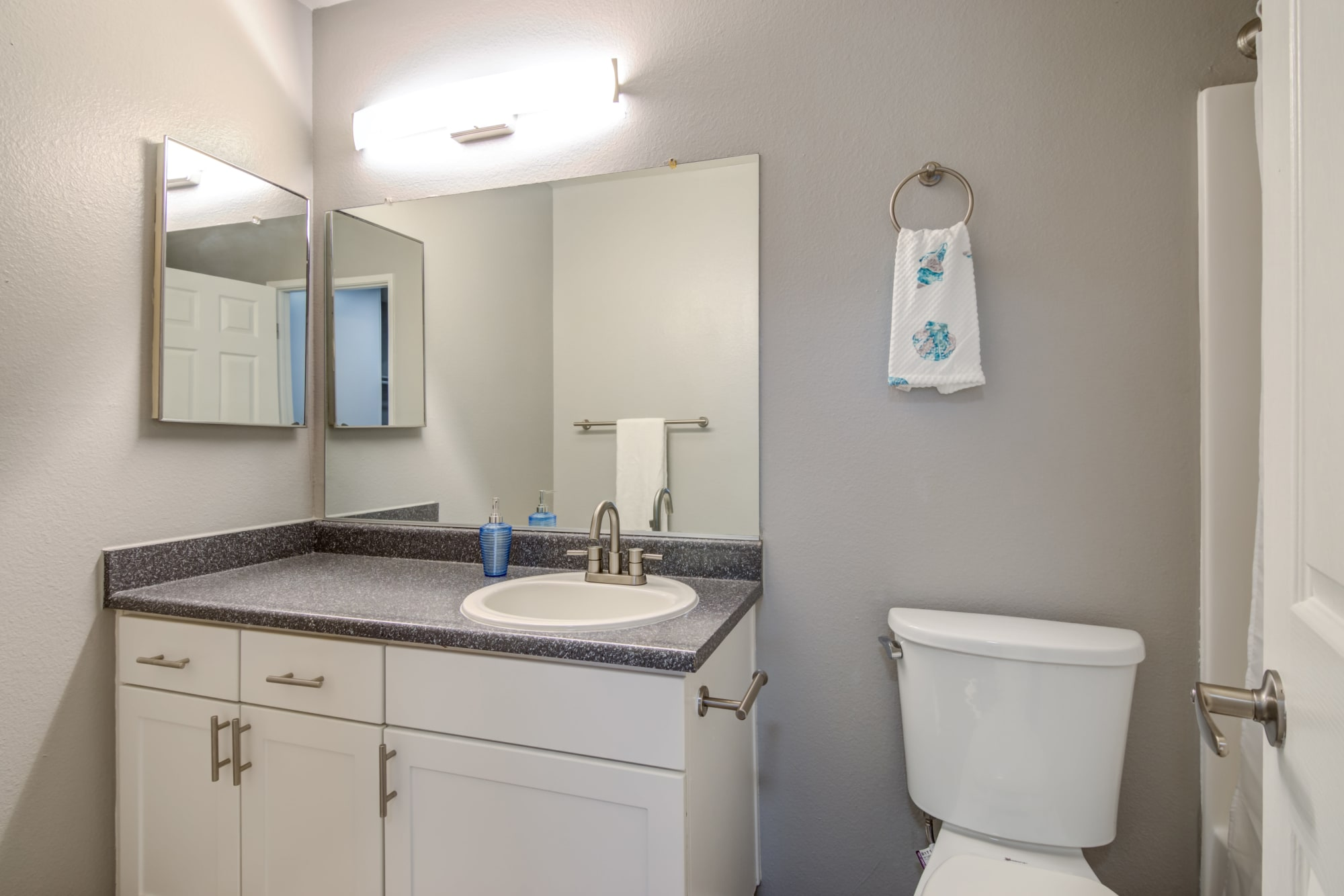 white renovated bathroom At Hillside Terrace Apartments Floor Plans