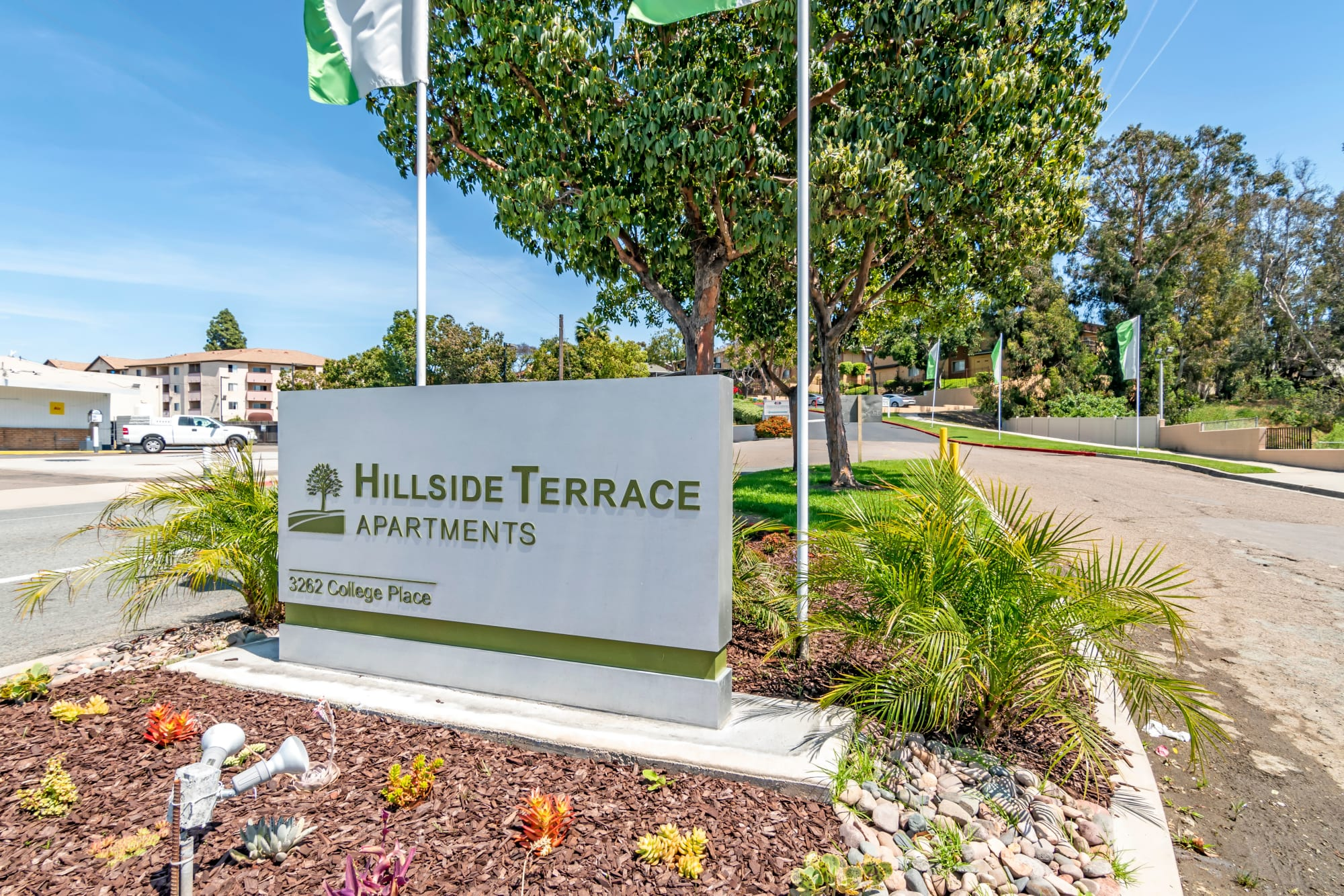 The monument sign at Hillside Terrace Apartments in Lemon Grove, California