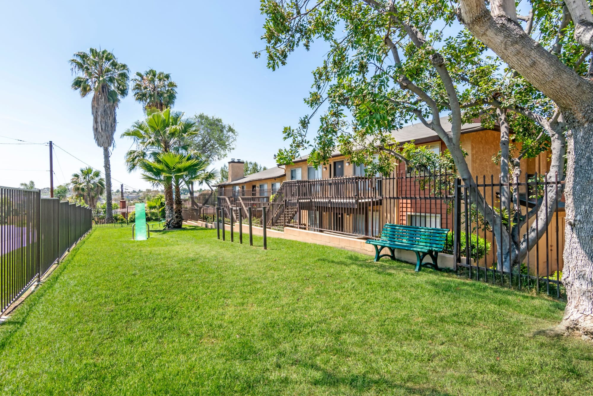 The onsite dog park at Hillside Terrace Apartments in Lemon Grove, California