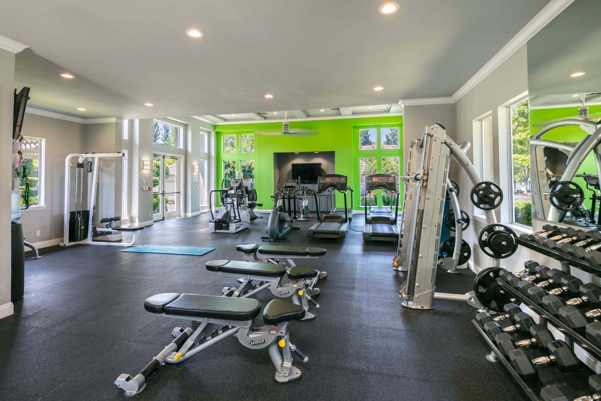 Fully stocked gym, with all of the equipment to for a great workout at Miramonte and Trovas in Sacramento, California