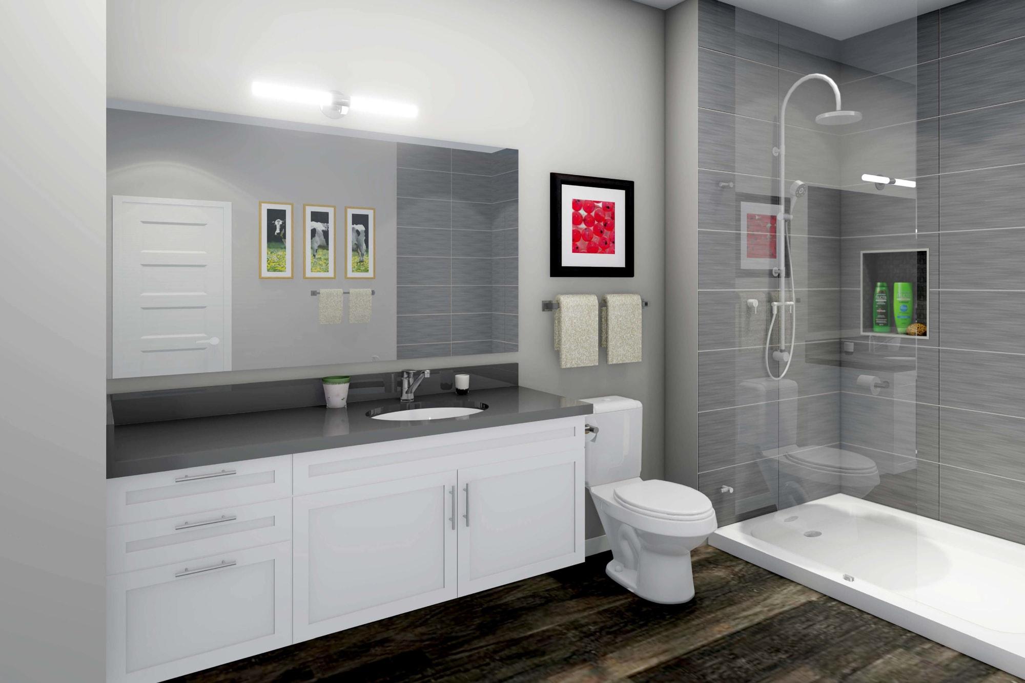 Rendering of New Build Bathroom, White Cabinetry, Oversized Shower, Quartz Countertops