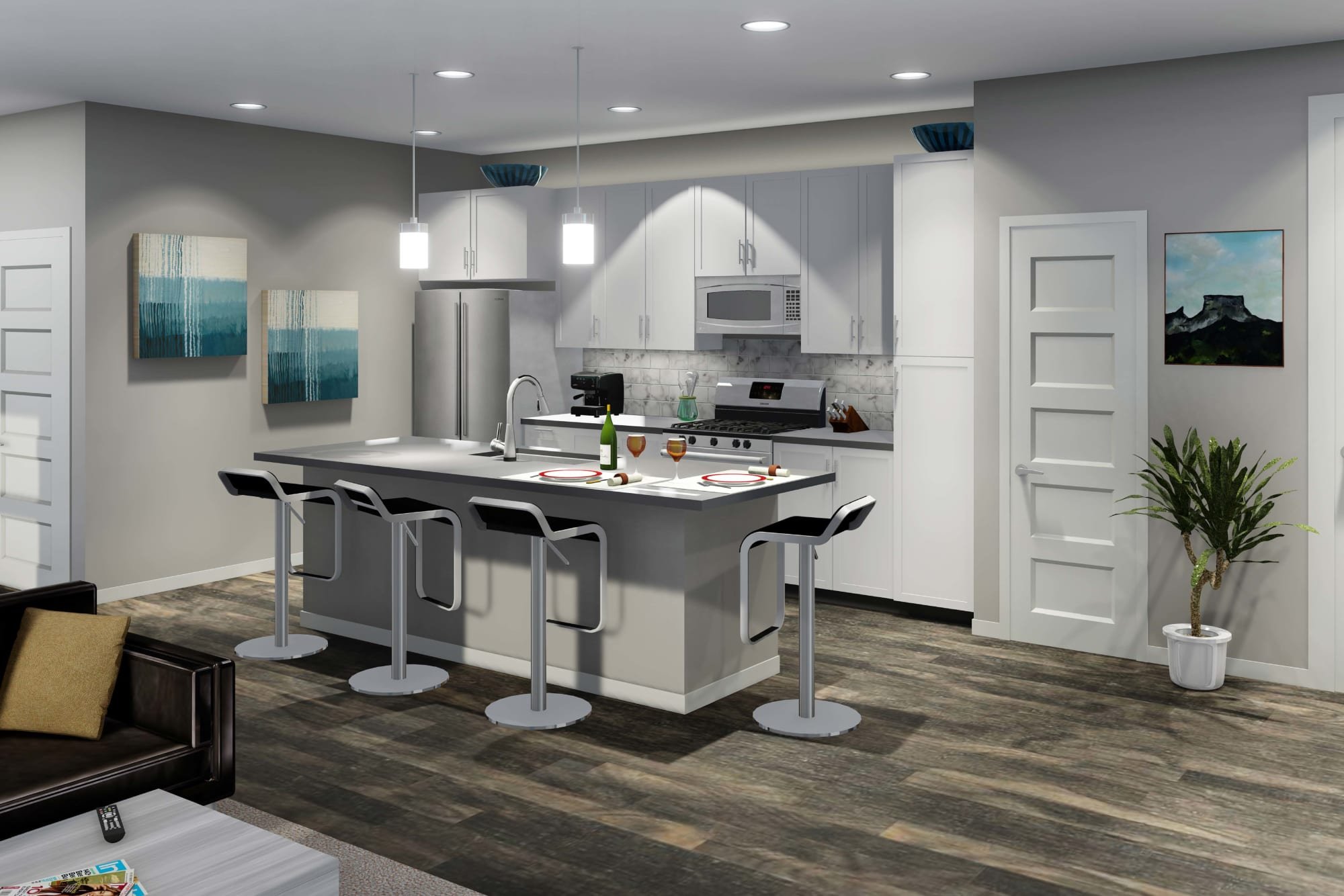 Brand New Build Kitchen Rendering, with White Cabinetry, Stainless Steel Appliances and Quartz Counters
