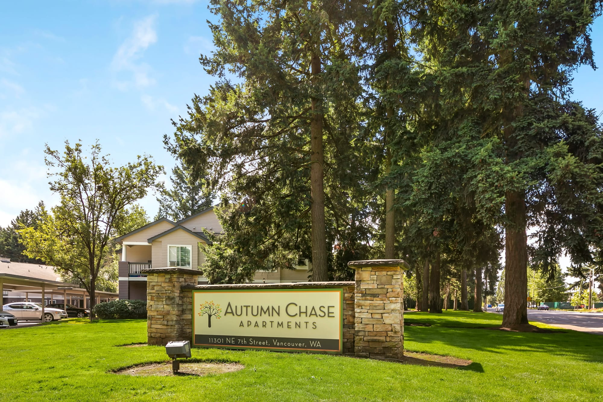 The monument sign in front of Autumn Chase Apartments in Vancouver, Washington