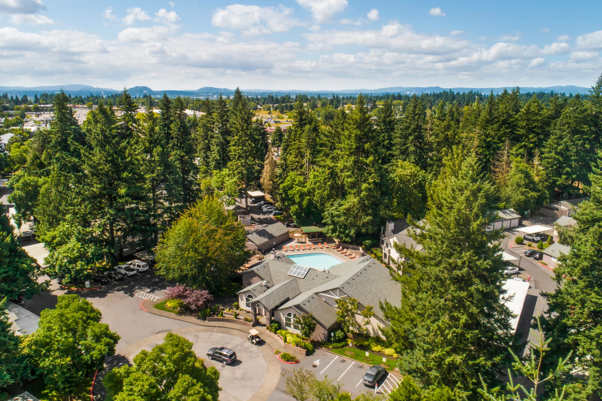 An aerial view of the property and surrounding area at Autumn Chase Apartments in Vancouver, Washington