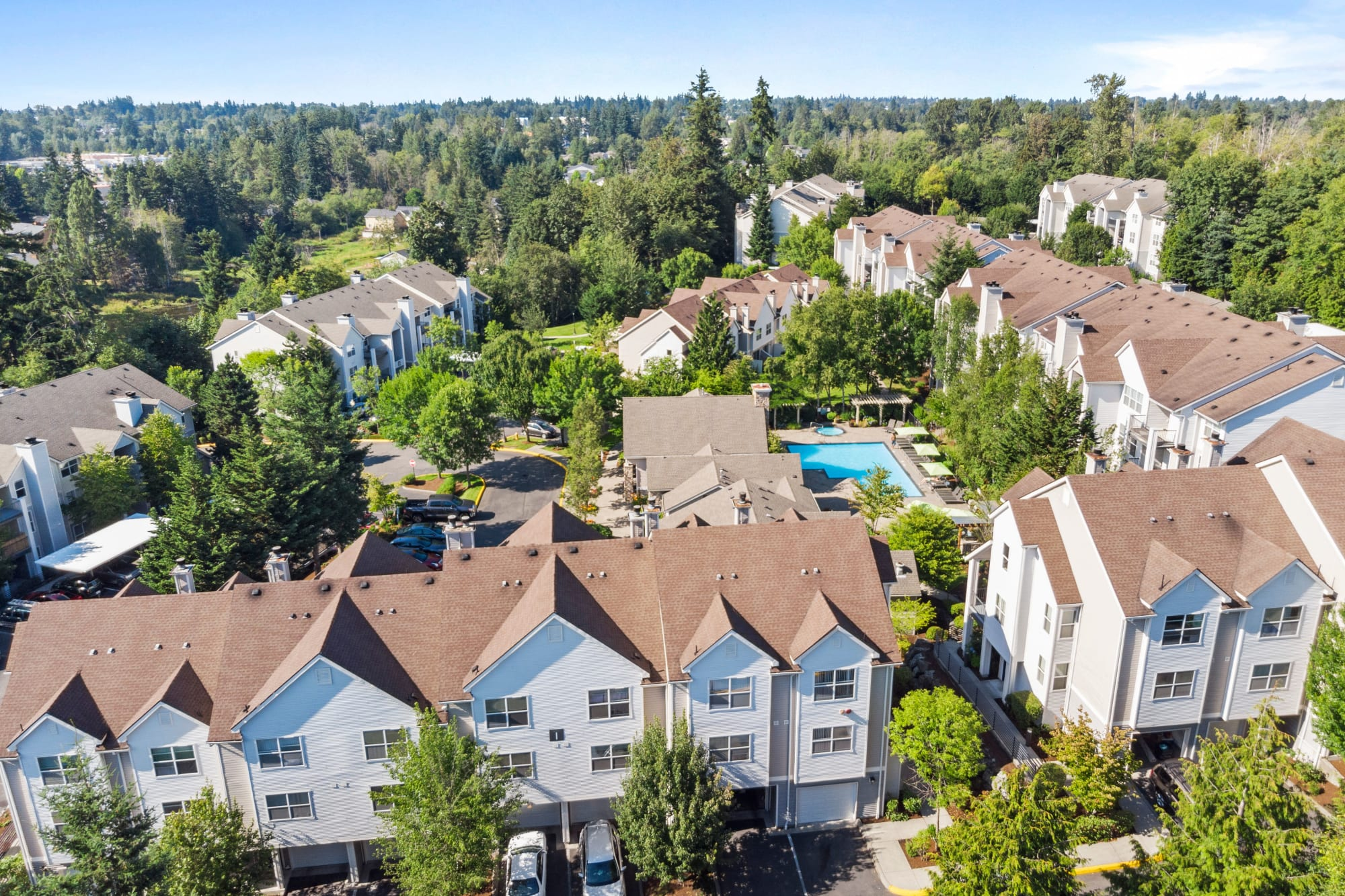 An aerial view of the property and surrounding areas at HighGrove Apartments in Everett, Washington
