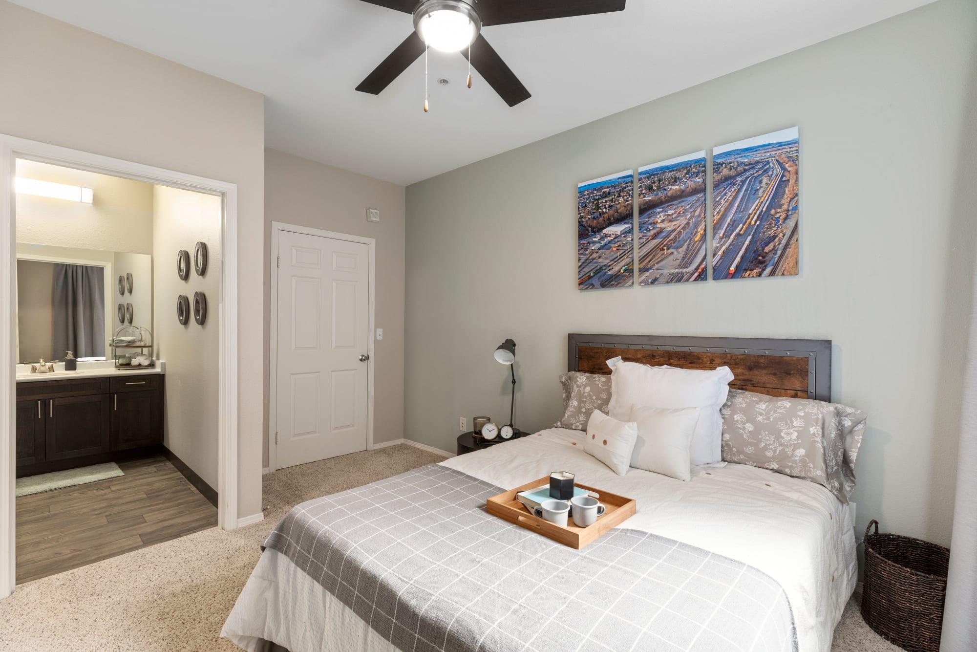 A spacious bedroom at HighGrove Apartments in Everett, Washington