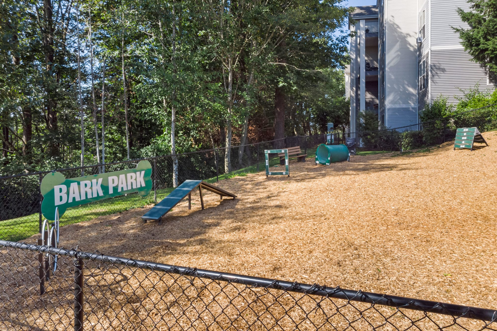 Dog park with lush landscaping and toys/obstacles
