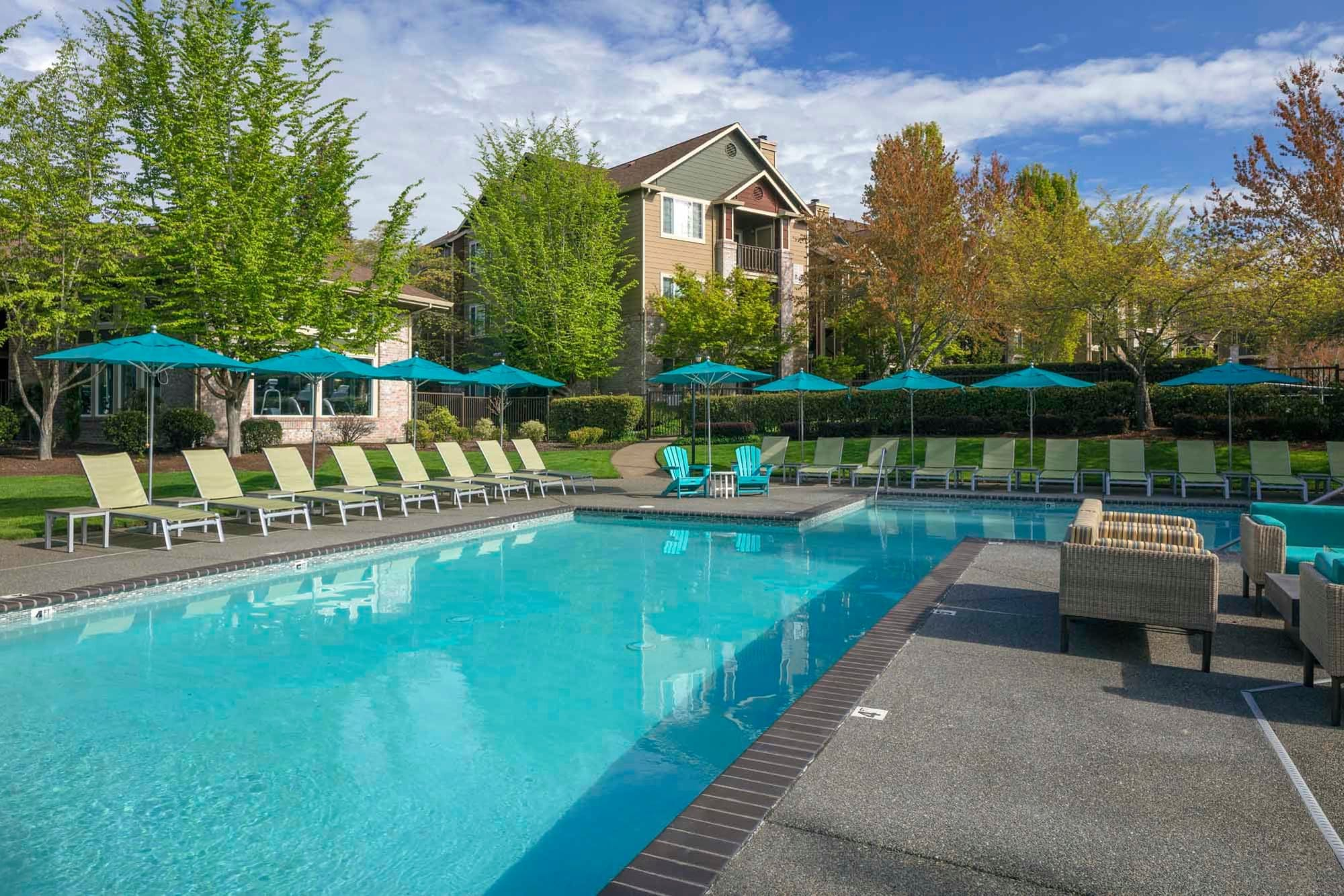 The pool area at The Grove at Orenco Station in Hillsboro, Oregon