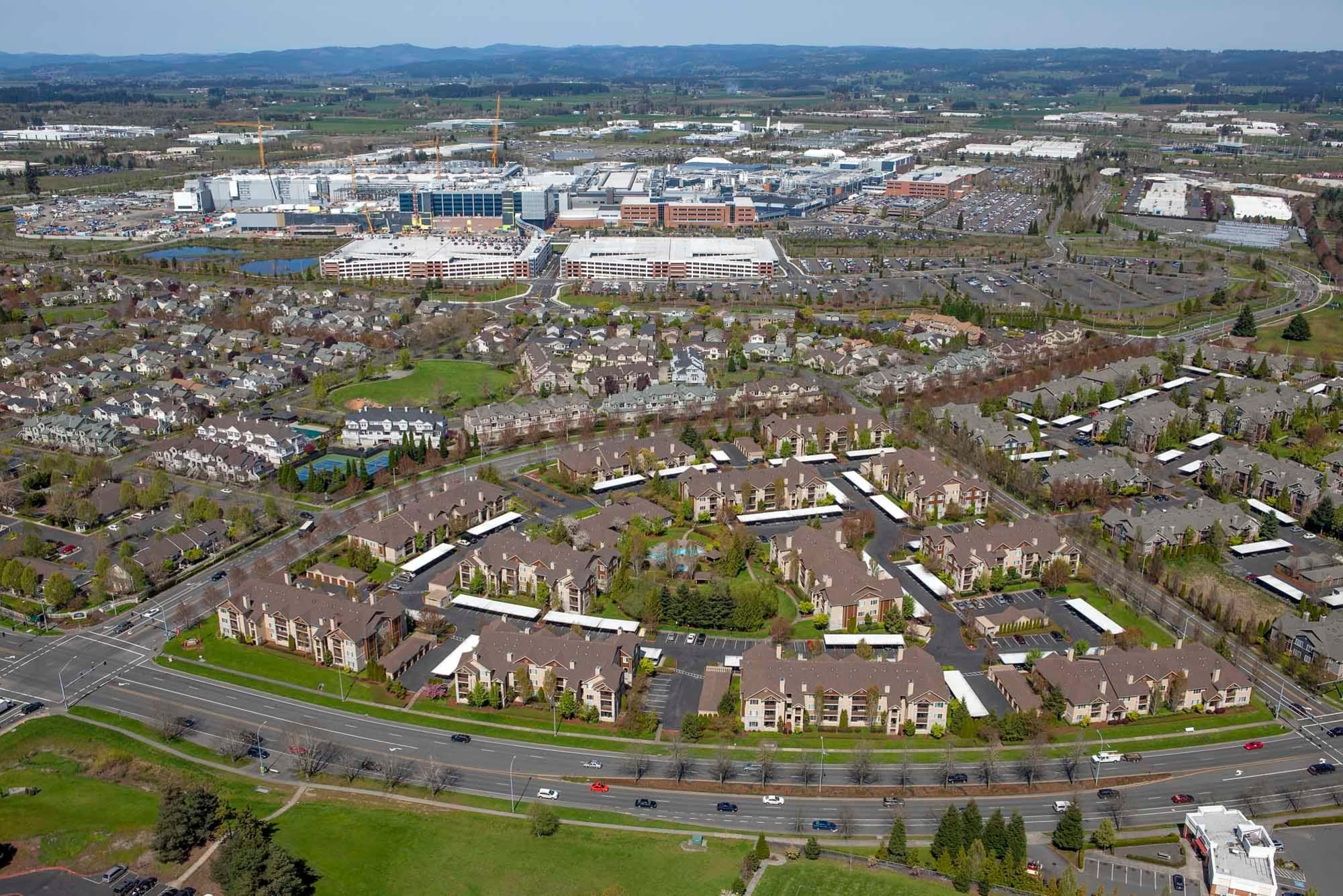 An aerial view of The Grove at Orenco Station in Hillsboro, Oregon