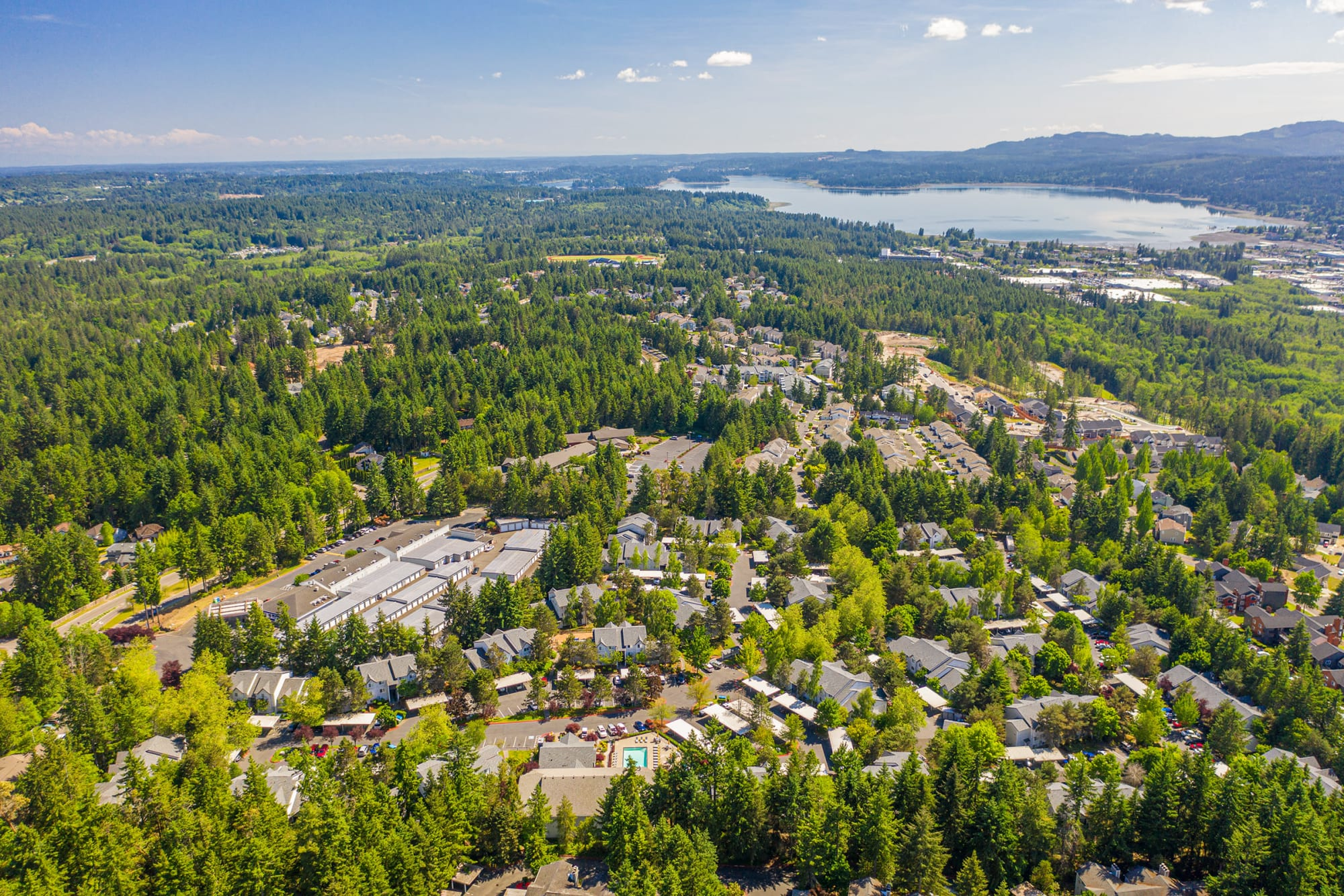 An aerial view of the neighborhood at Cascade Ridge in Silverdale, Washington