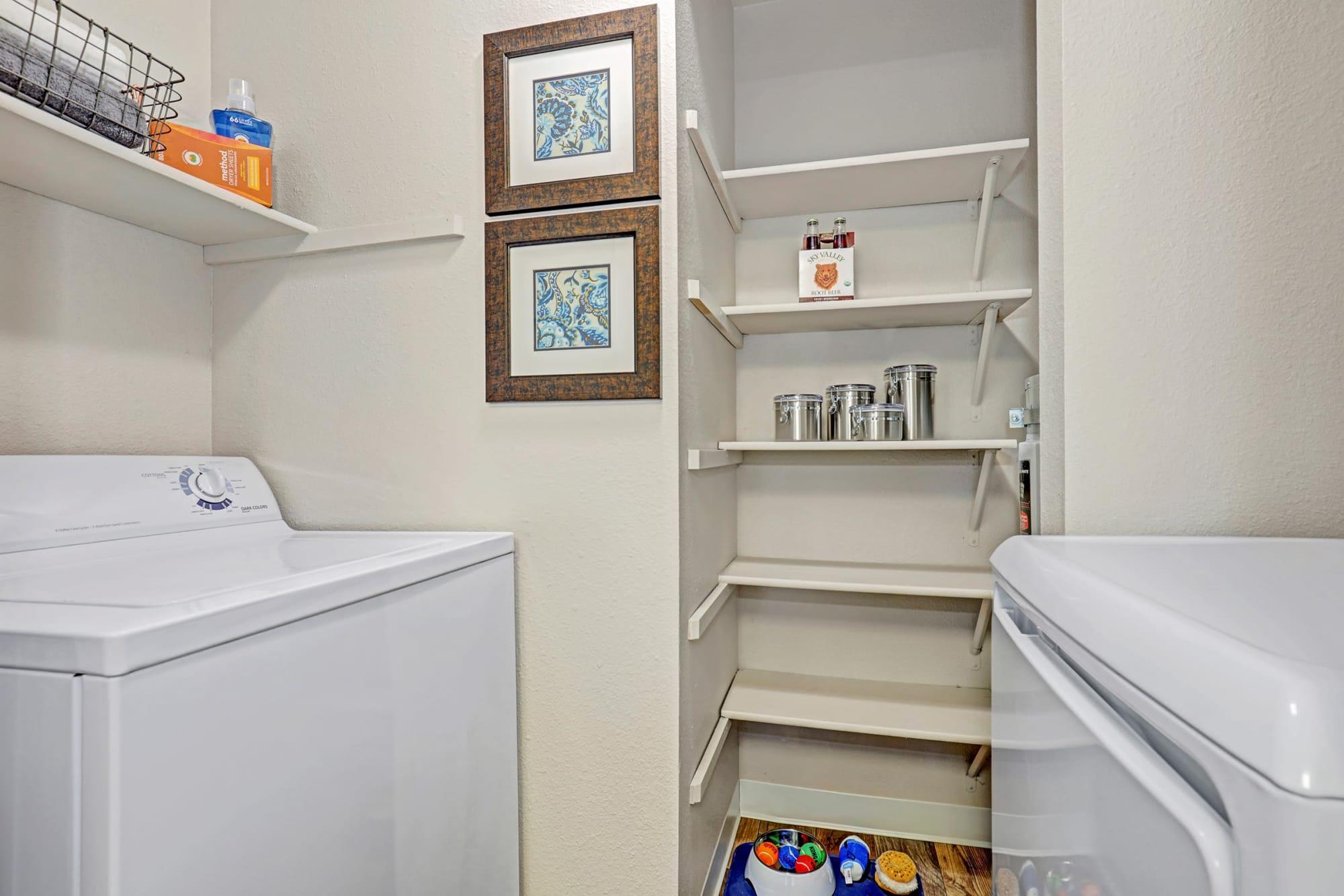 Washer, dryer and ample storage space in the apartments at Cascade Ridge in Silverdale, Washington