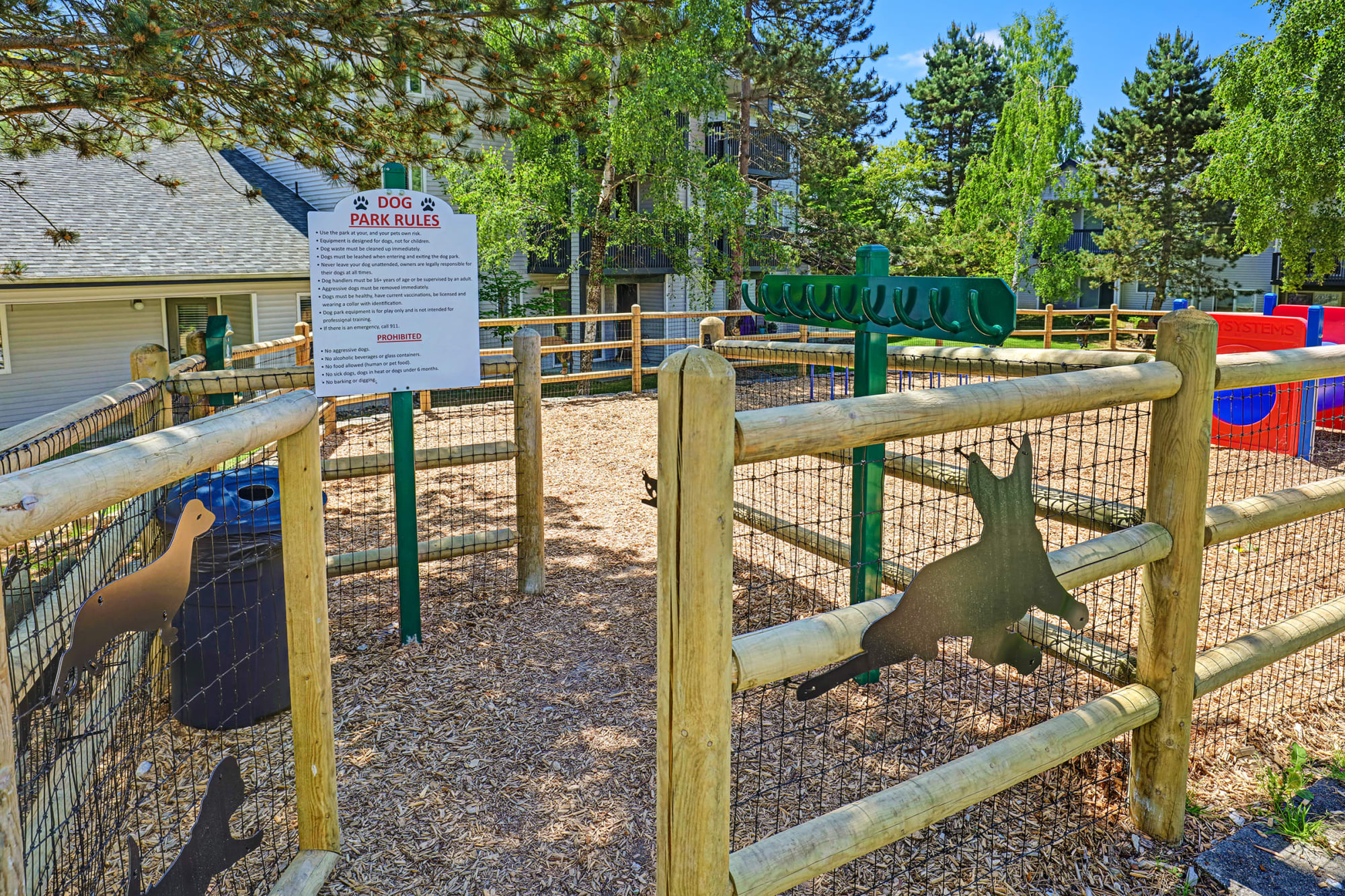 The gate to the dog park at Cascade Ridge in Silverdale, Washington