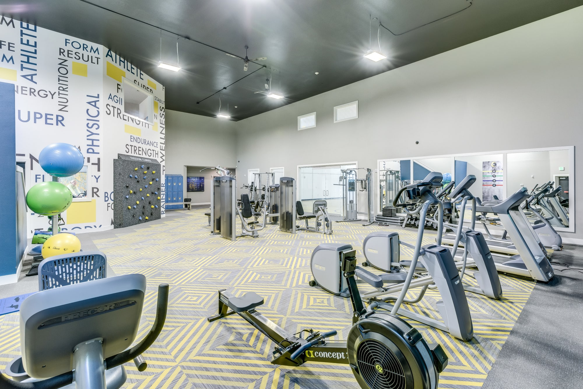 A gym with lots of new equipment at Cascade Ridge in Silverdale, Washington
