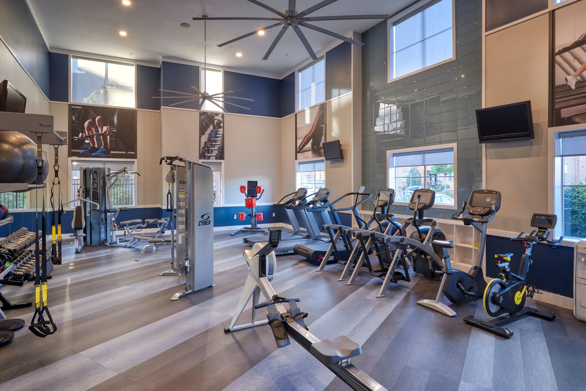 Luxury fitness center at The Rail at Inverness in Englewood, Colorado