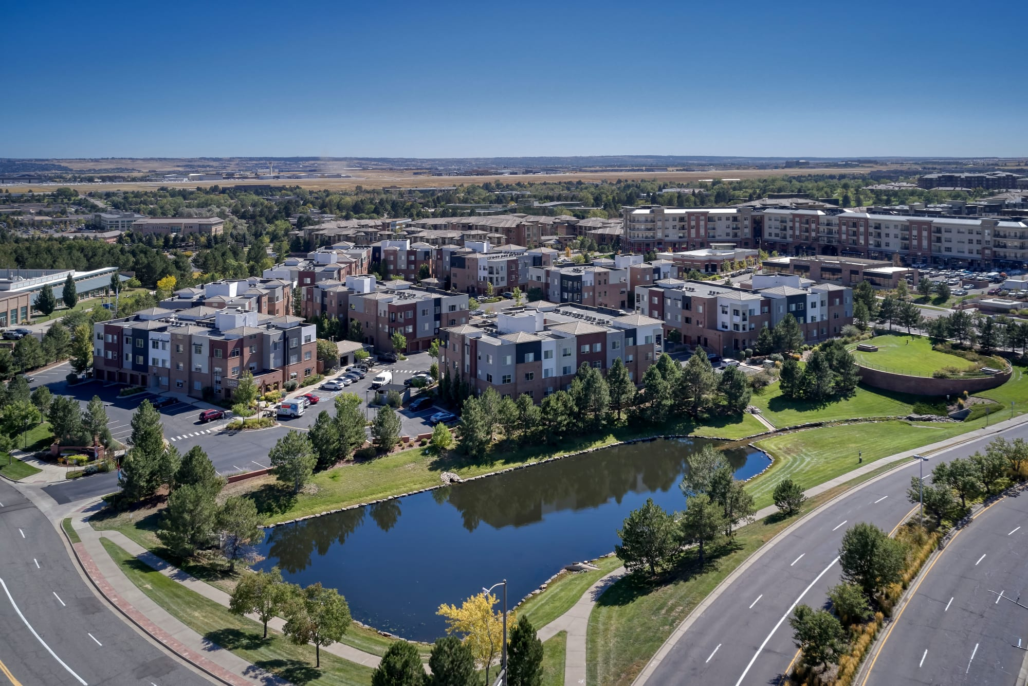 Aerial view of the property and surrounding area at The Rail at Inverness in Englewood, Colorado