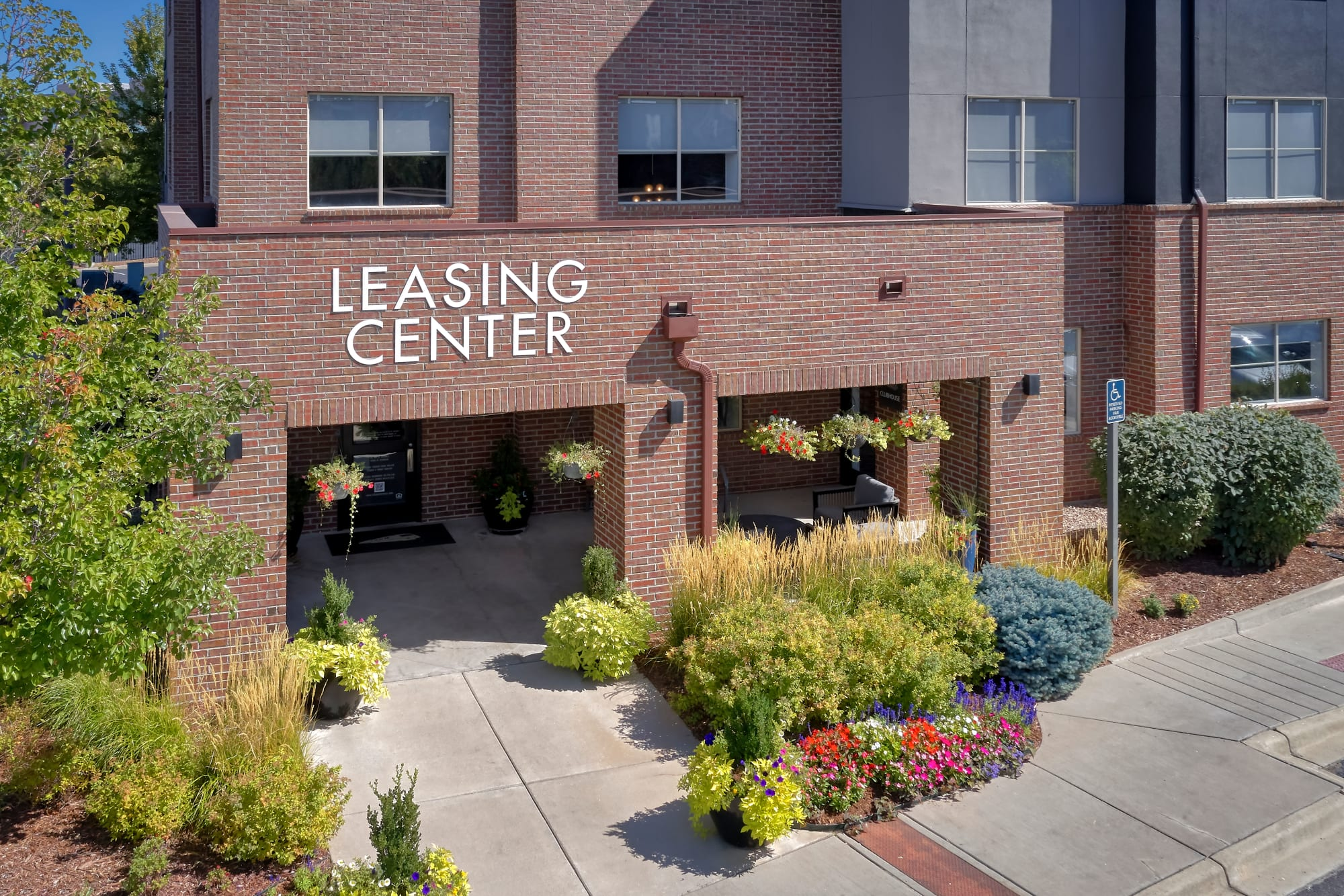 Leasing center entrance at The Rail at Inverness in Englewood, Colorado