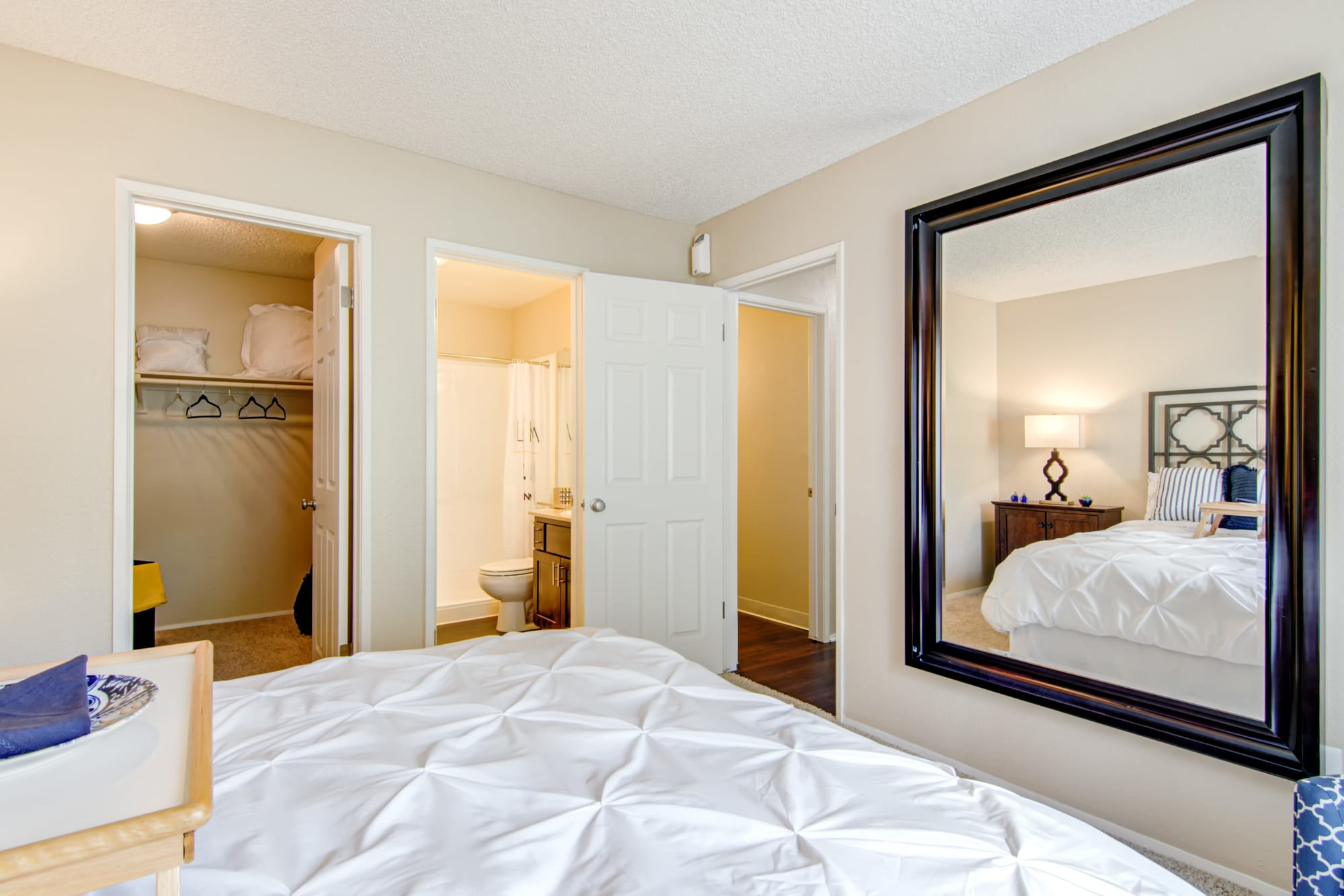 master bedroom at Lakeview Village Apartments