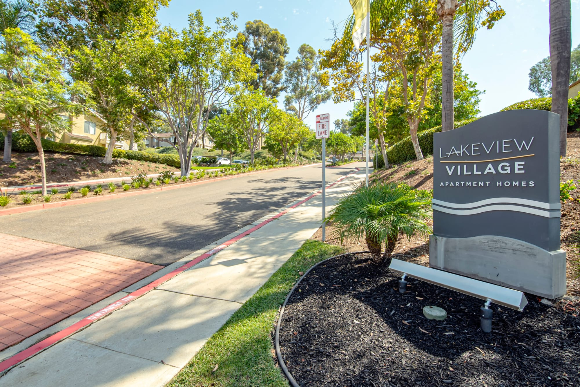 Monument sign at Lakeview Village Apartments in Spring Valley, California