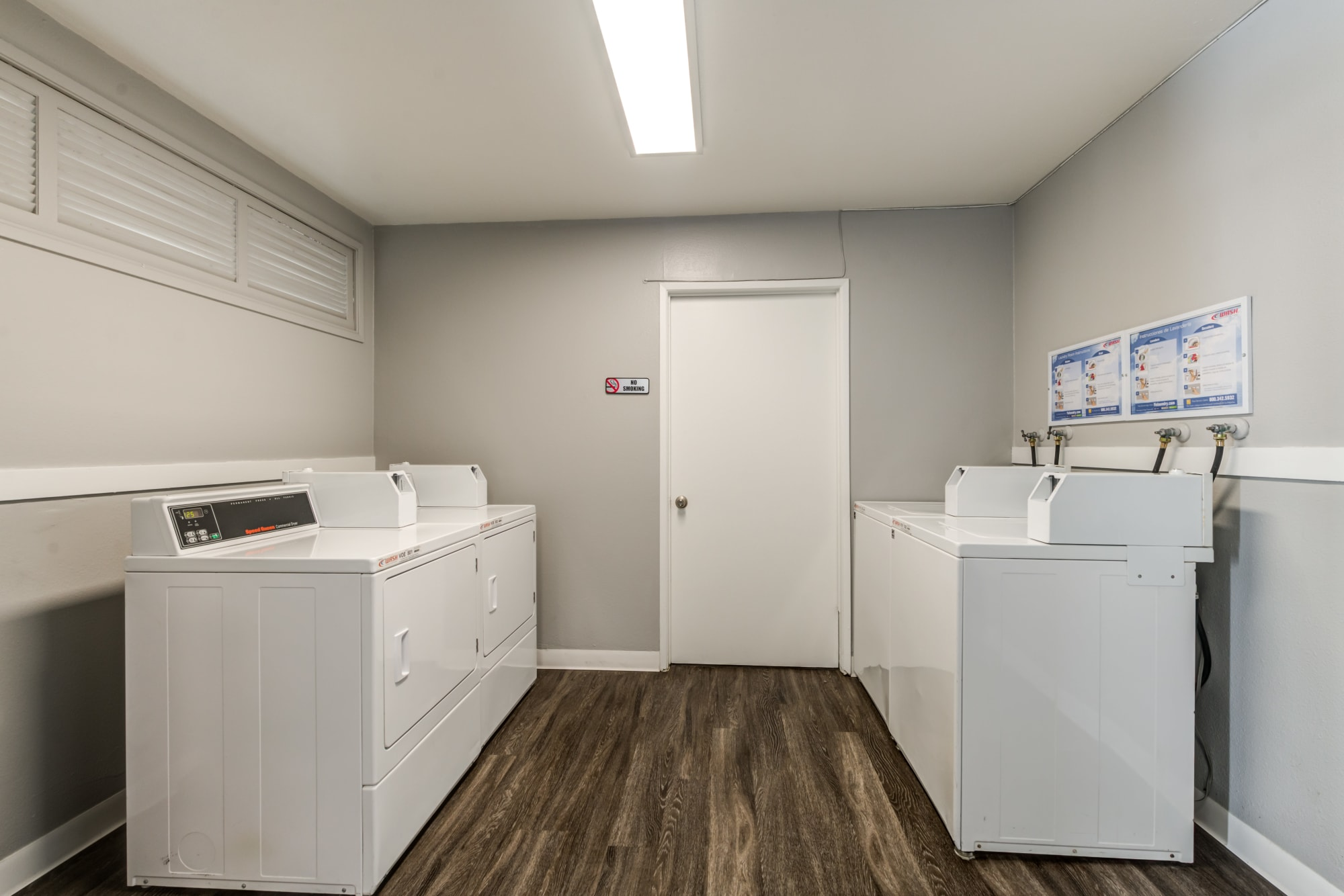 The laundry room at Kendallwood Apartments in Whittier, California
