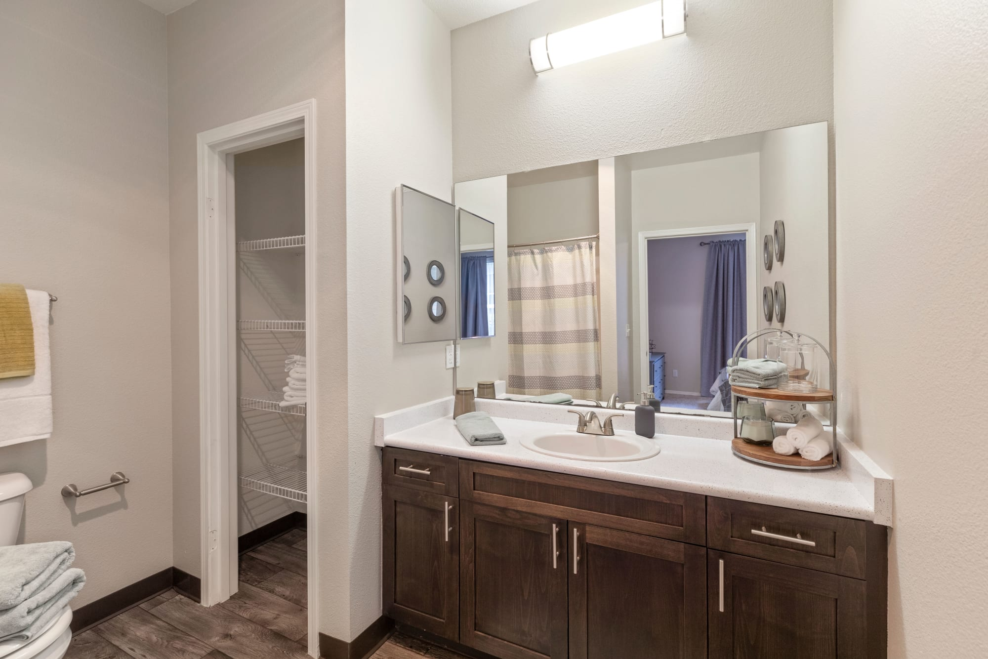 A master bathroom at HighGrove Apartments in Everett, Washington