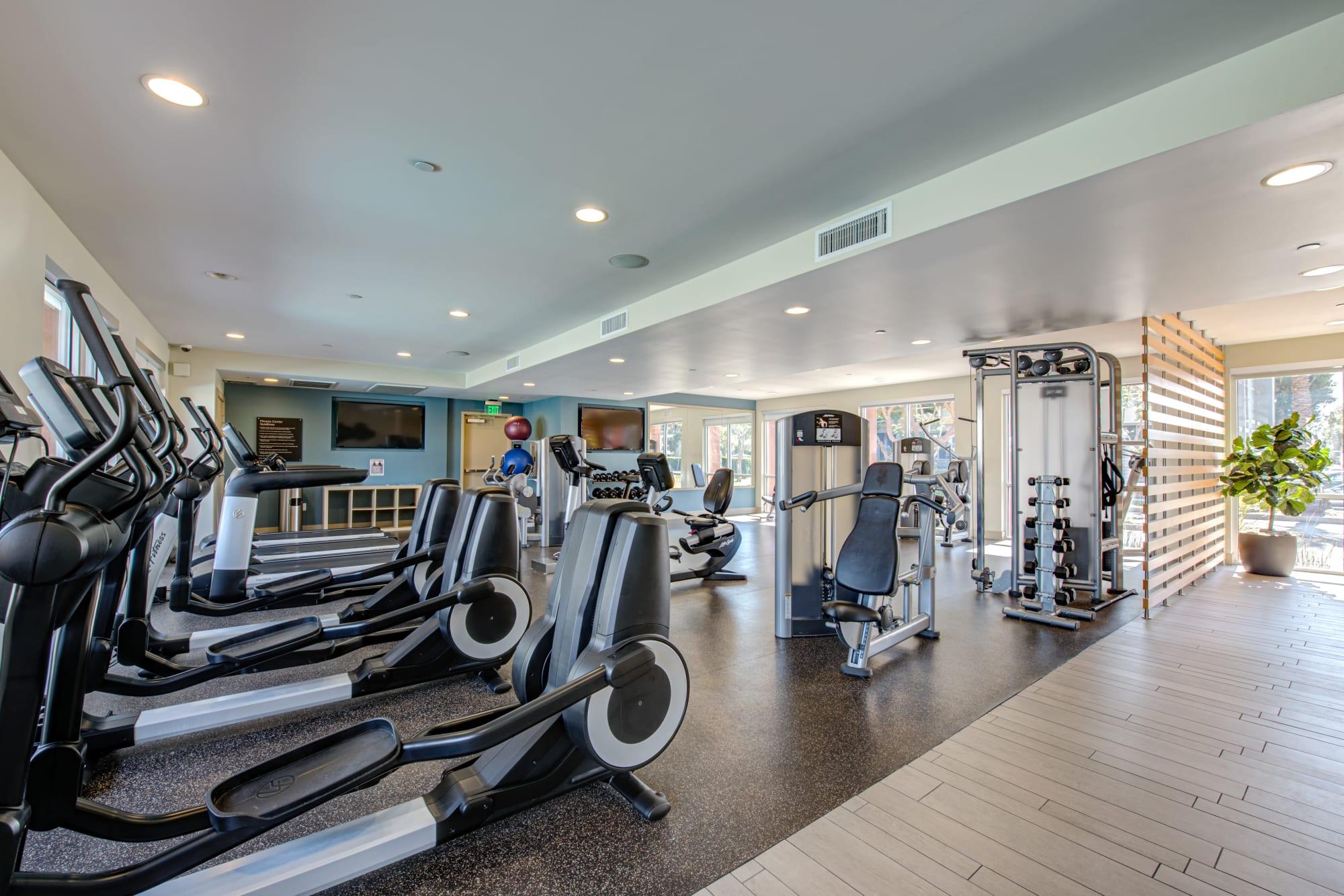 Fully equipped fitness center at Harborside Marina Bay Apartments in Marina del Rey, California