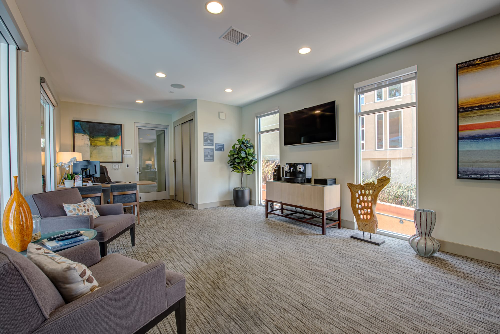 Spacious community clubhouse at Harborside Marina Bay Apartments in Marina del Rey, California