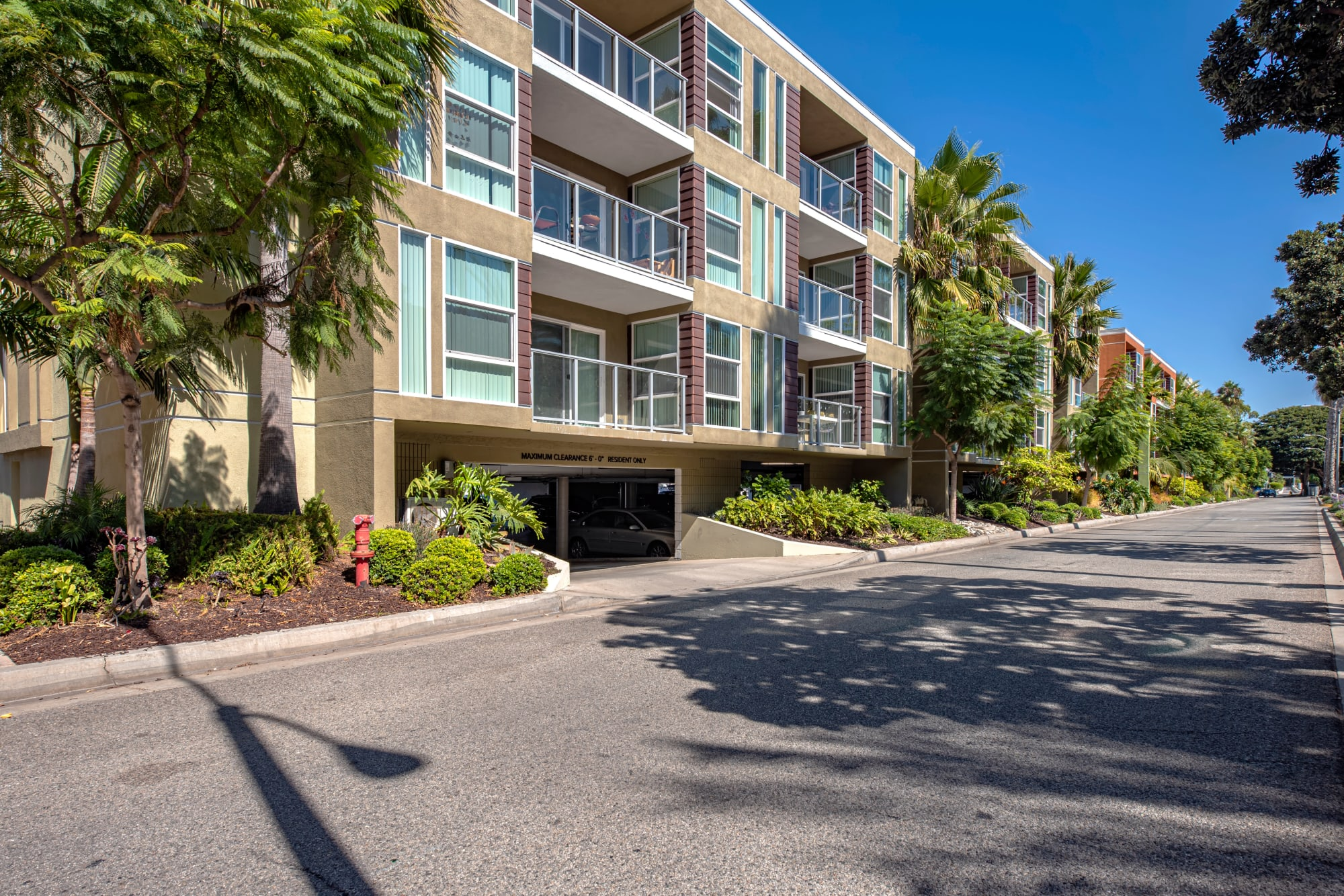 Access to a parking garage at Harborside Marina Bay Apartments in Marina del Rey, California