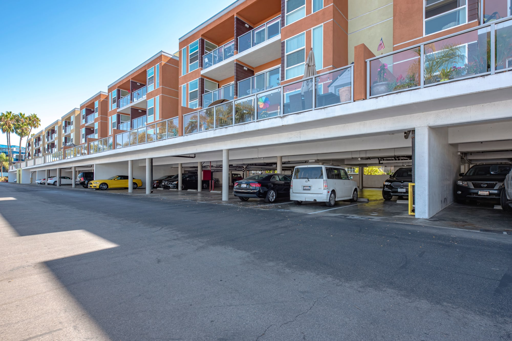 Patio over covered parking at Harborside Marina Bay Apartments in Marina del Rey, California