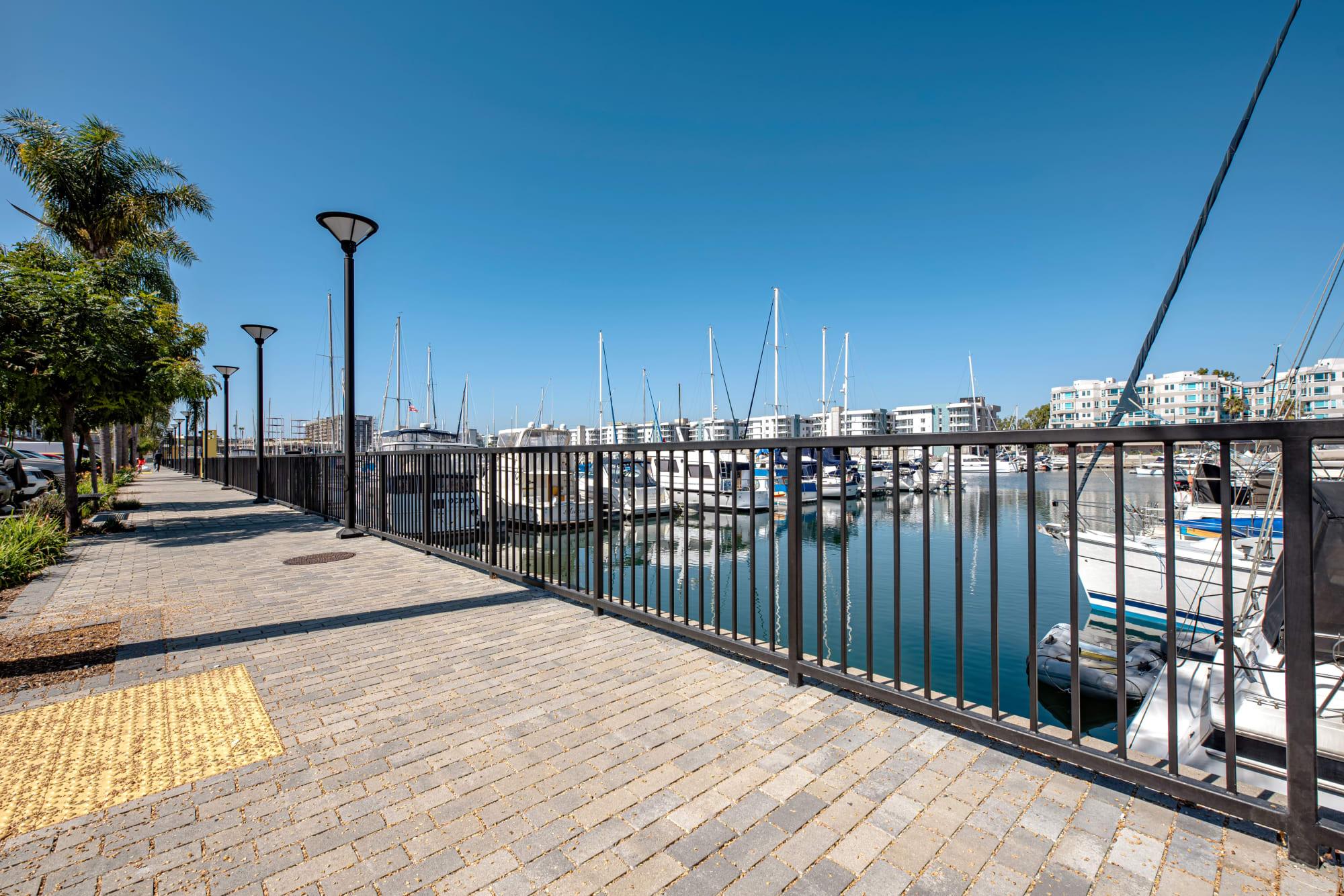 Enjoy walks along the marina at Harborside Marina Bay Apartments in Marina del Rey, California