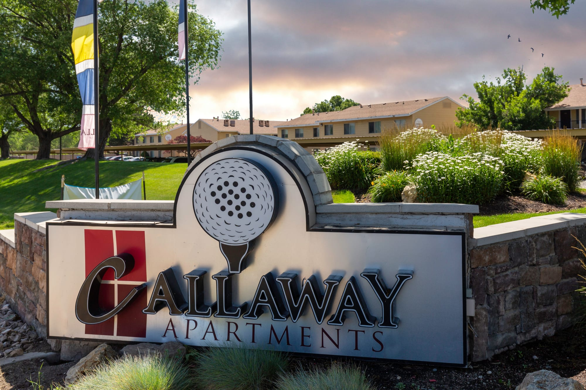 The monument sign in front of Callaway Apartments in Taylorsville, Utah