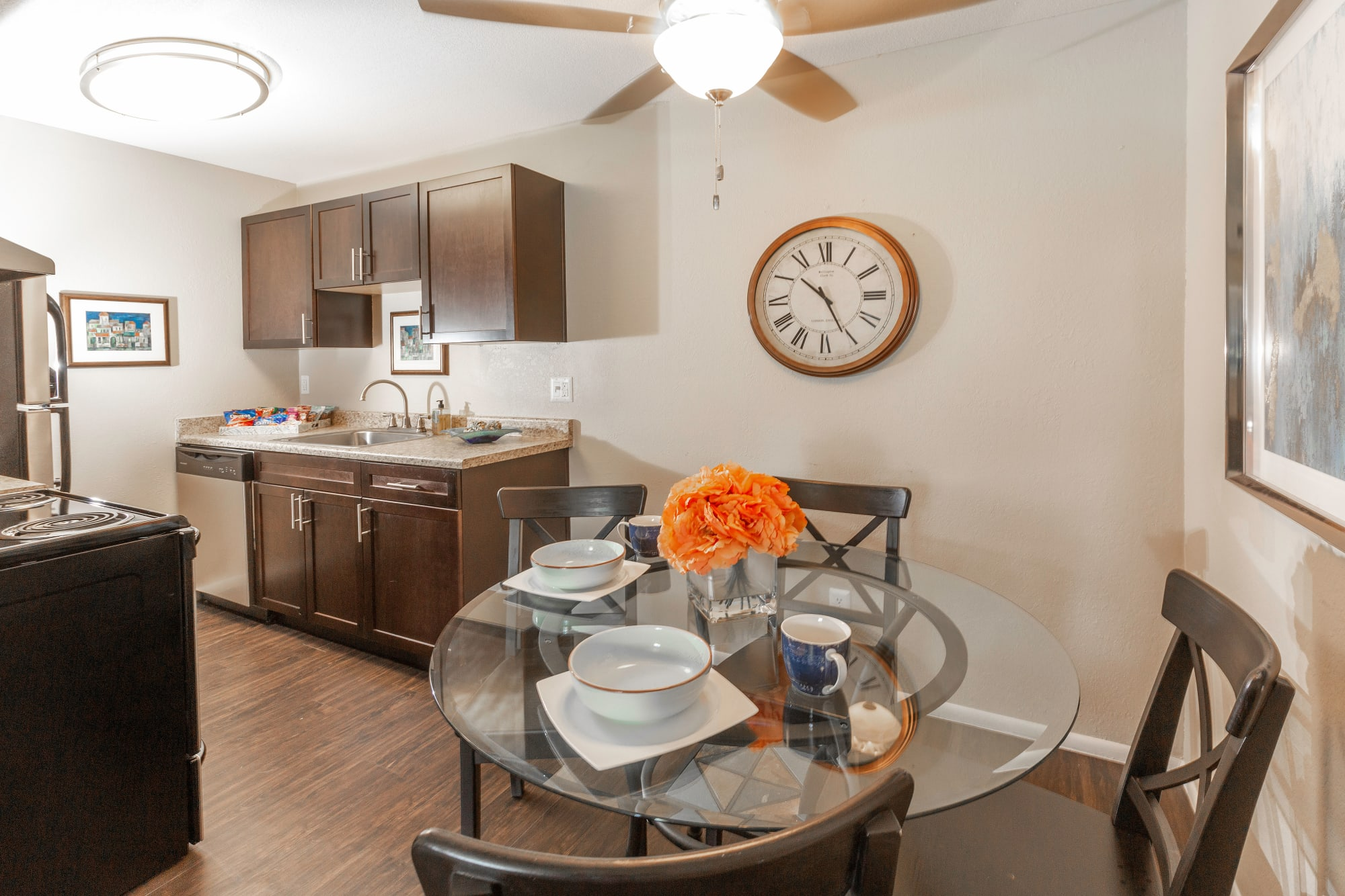 Recently renovated dining room and kitchen at Callaway Apartments in Taylorsville, Utah