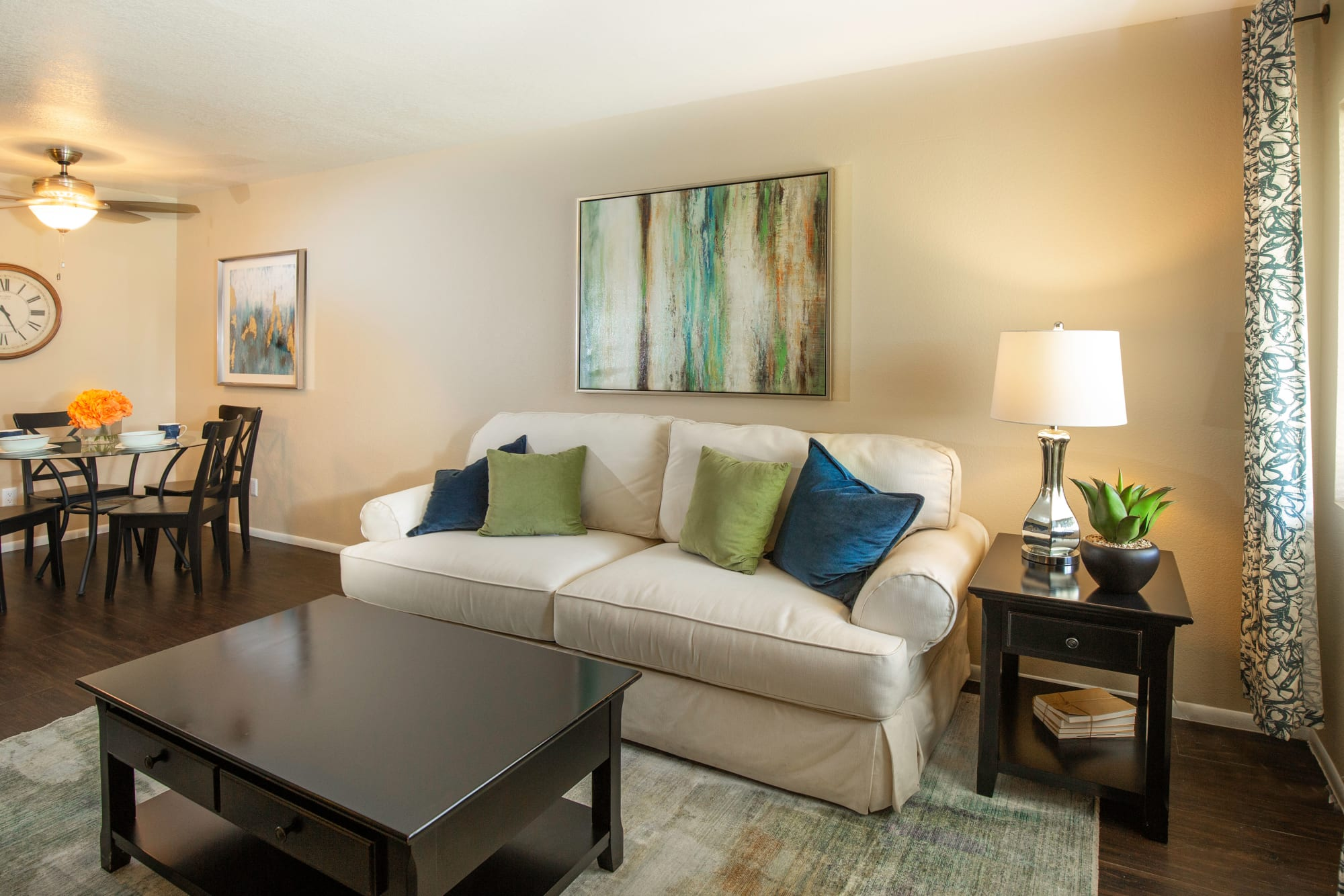 A cozy apartment living room at Callaway Apartments in Taylorsville, Utah