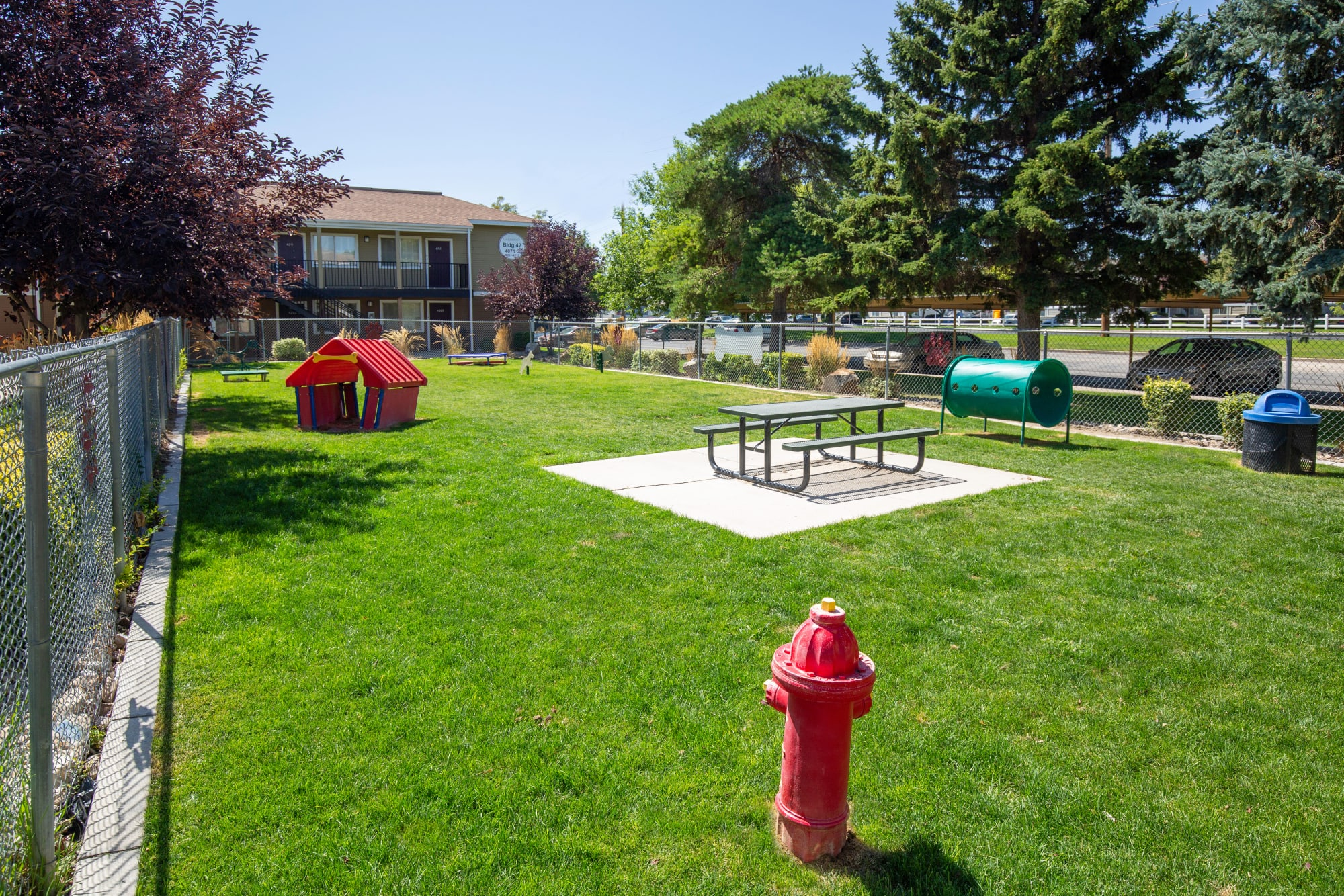 The onsite off-leash dog park at Callaway Apartments in Taylorsville, Utah