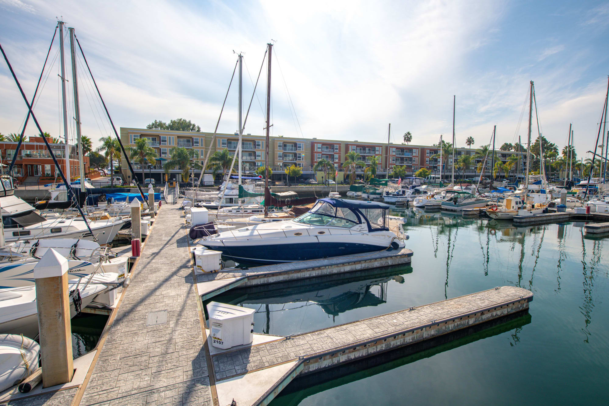 Marina access from Harborside Marina Bay Apartments in Marina del Rey, California