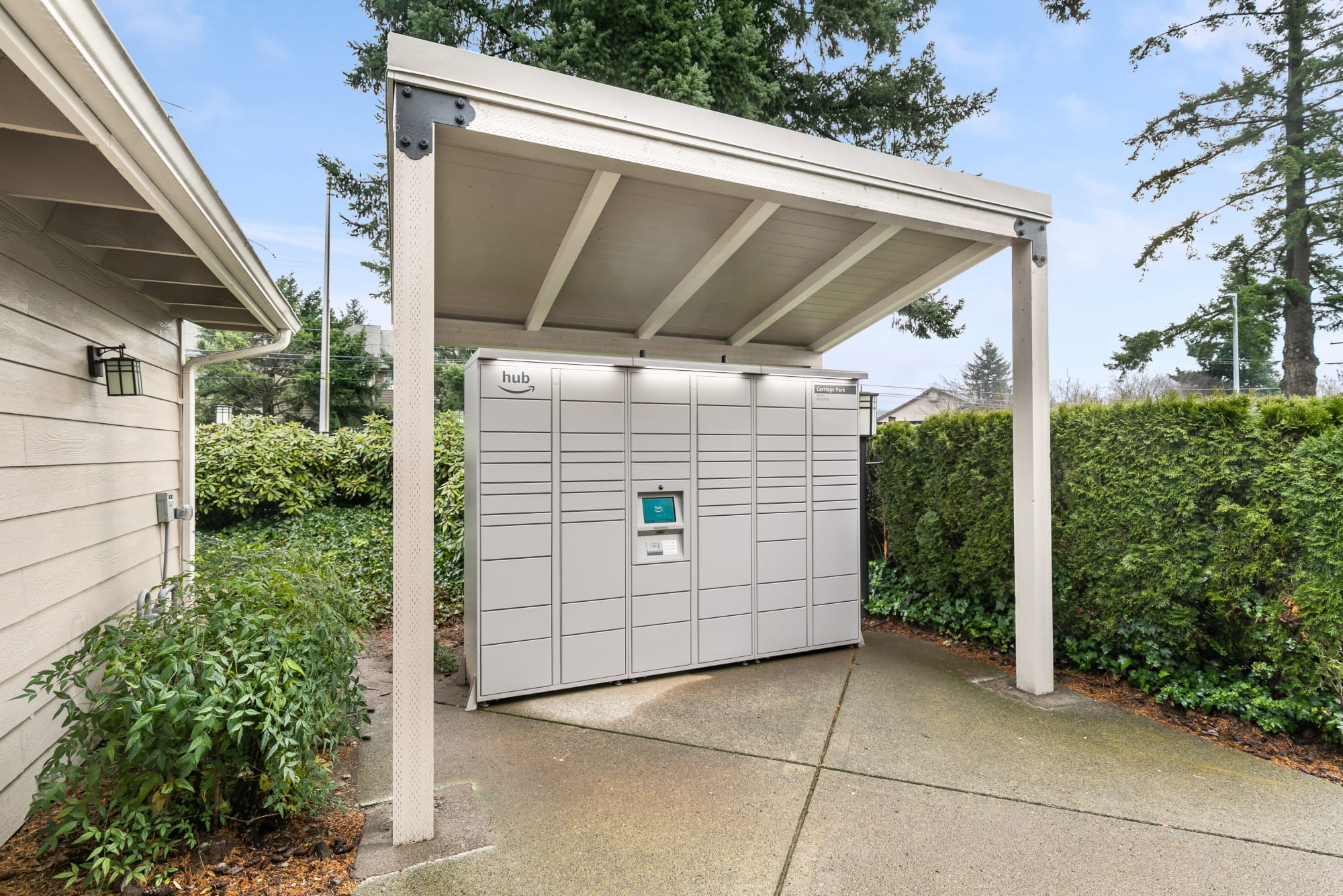 24-hour package lockers at Carriage Park Apartments in Vancouver, Washington