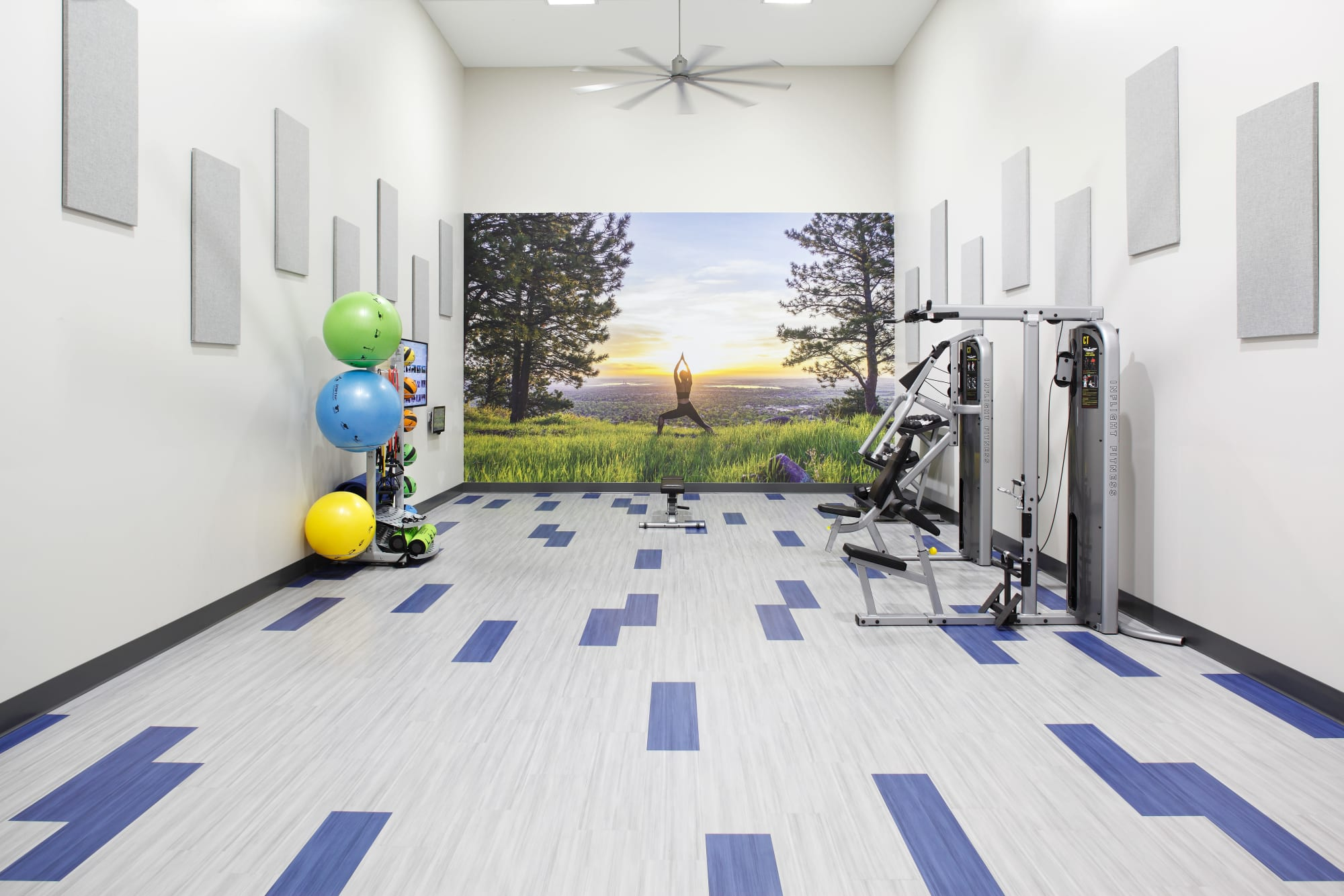 Newly renovated fitness center at Park South Apartments in Seattle, Washington