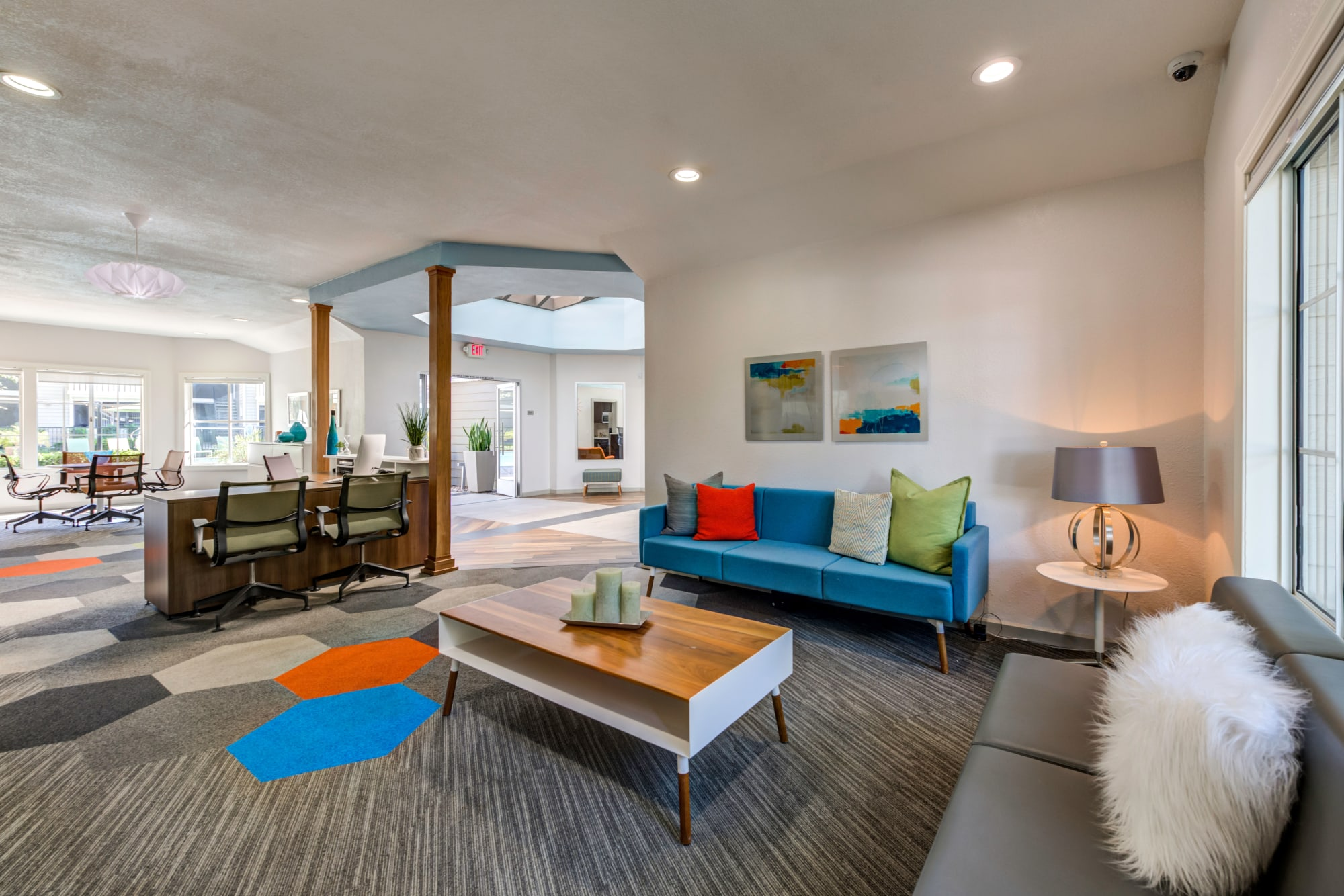 Clubhouse lounge area at Village Oaks in Chino Hills, California