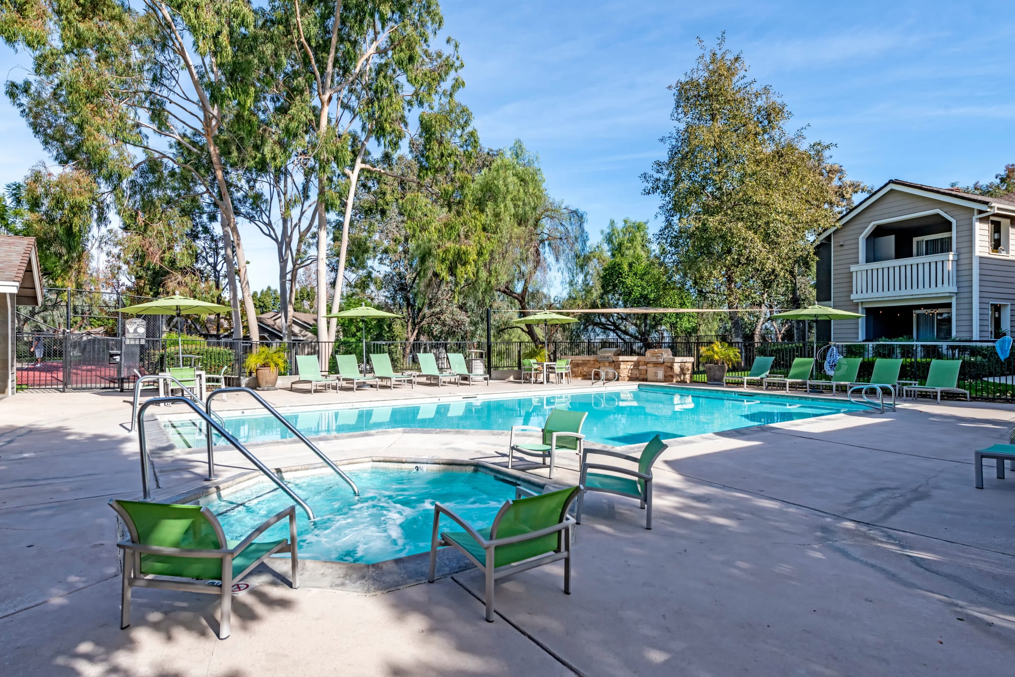 Sparkling swimming pool at Village Oaks in Chino Hills, California