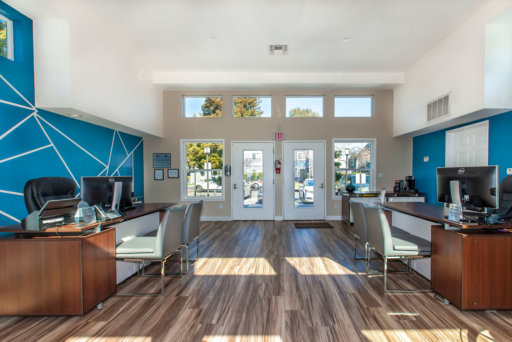 The sunny interior of the leasing office at Bennington Apartments in Fairfield, California
