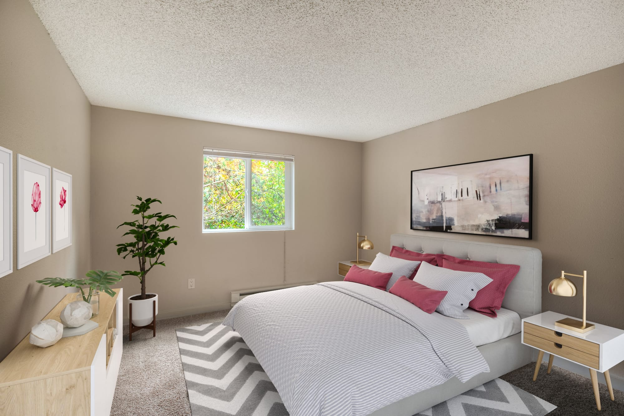 A spacious bedroom with ample natural light at Karbon Apartments in Newcastle, Washington