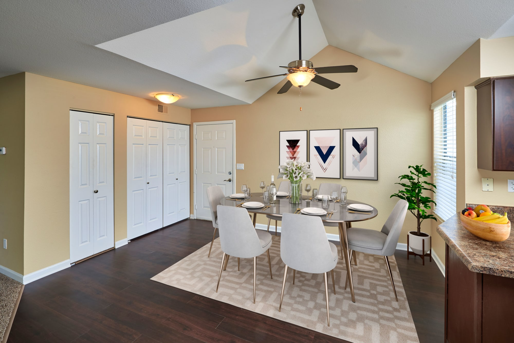 Furnished Dining Room in our floor plans at Villas at Homestead Apartments