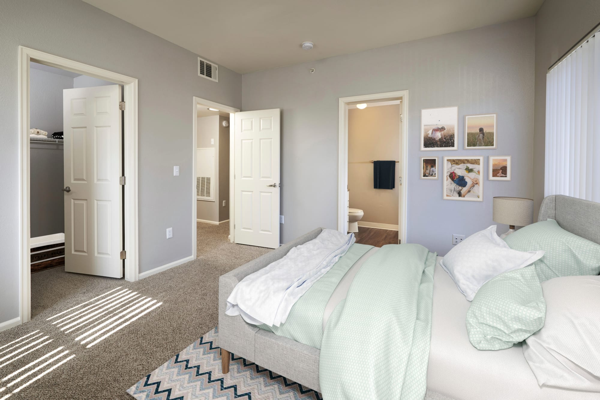Spacious master bedroom at Westridge Apartments in Aurora, Colorado